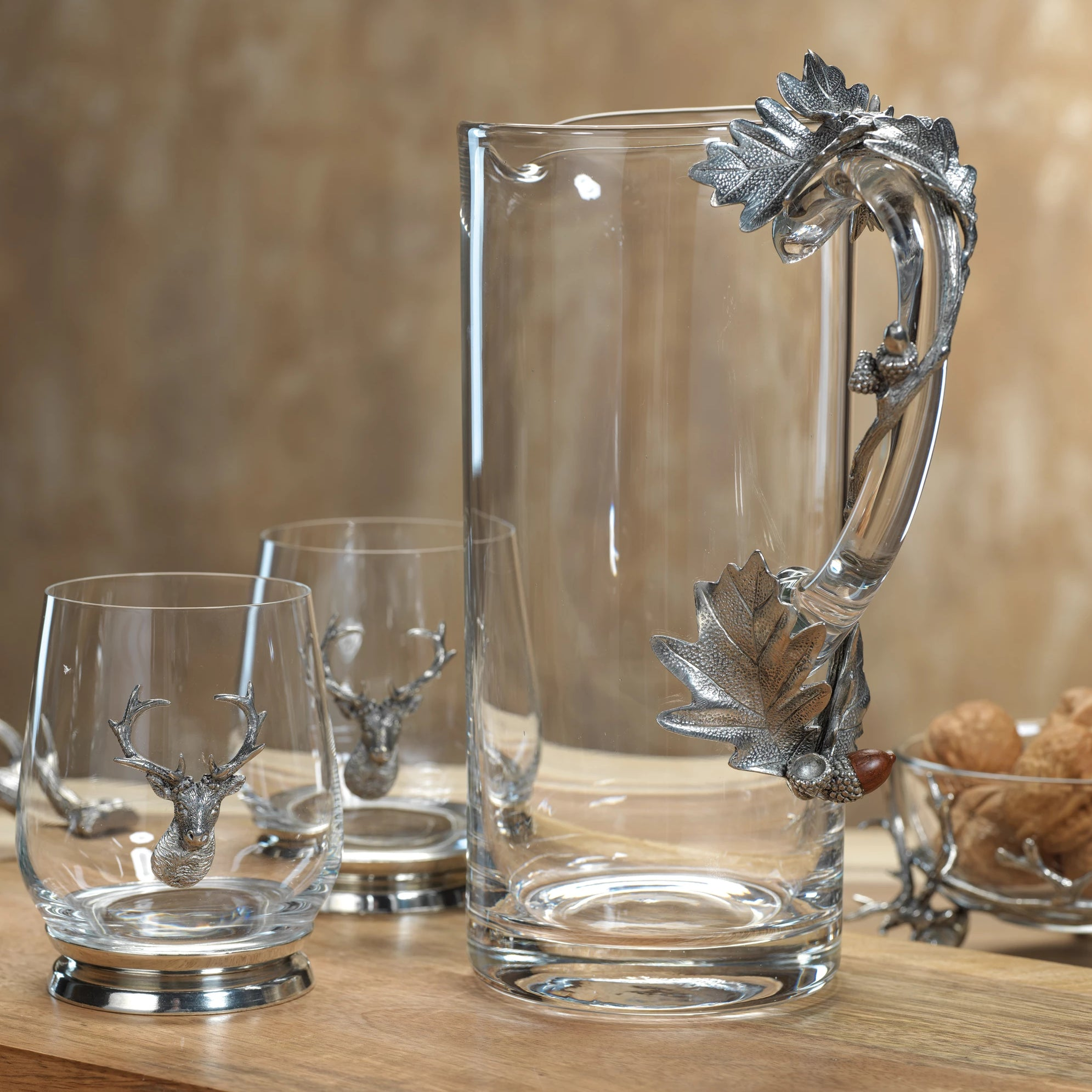 St. Anton Pewter and Glass Pitcher and Tumblers