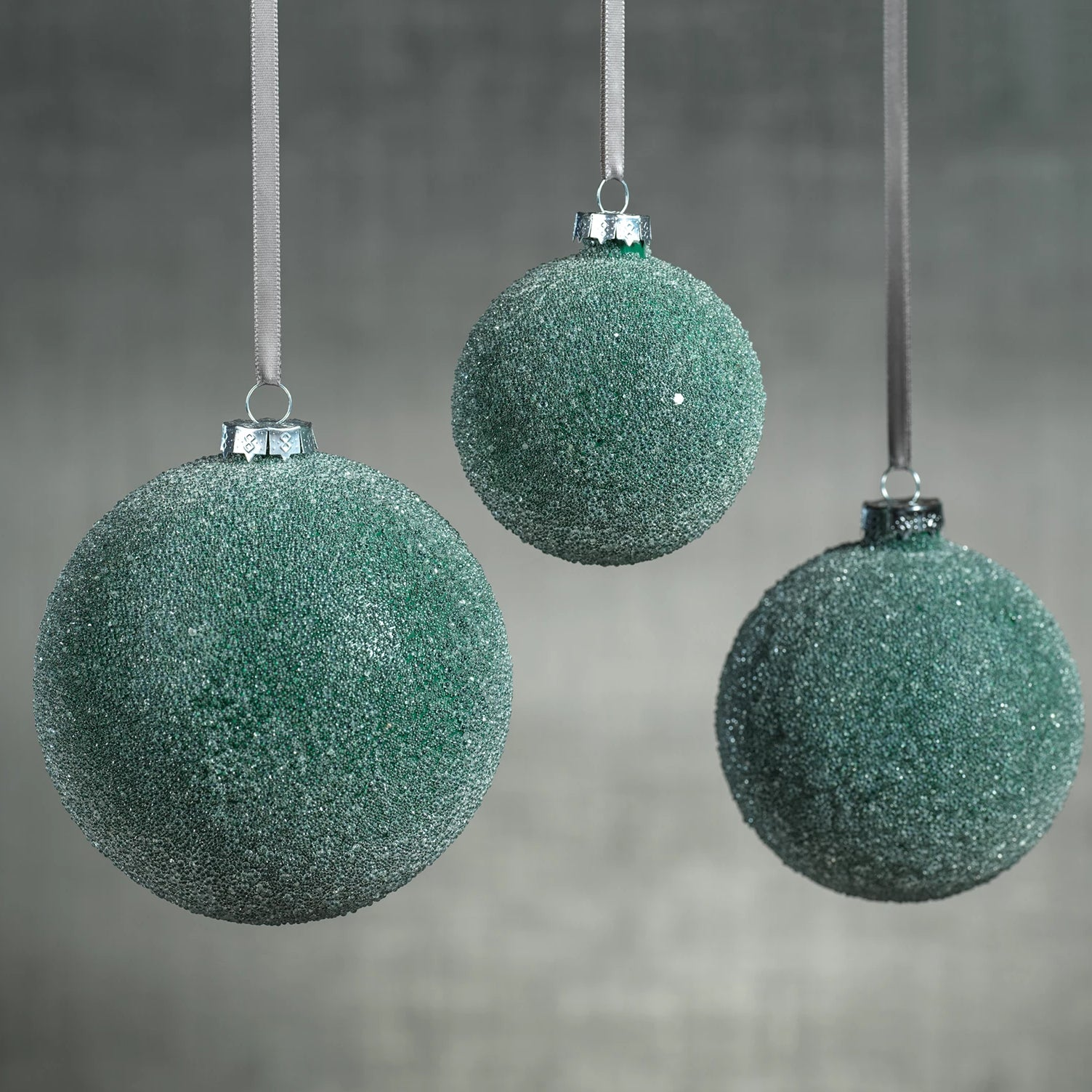 Frosted Green Beaded Ball Ornament - CARLYLE AVENUE