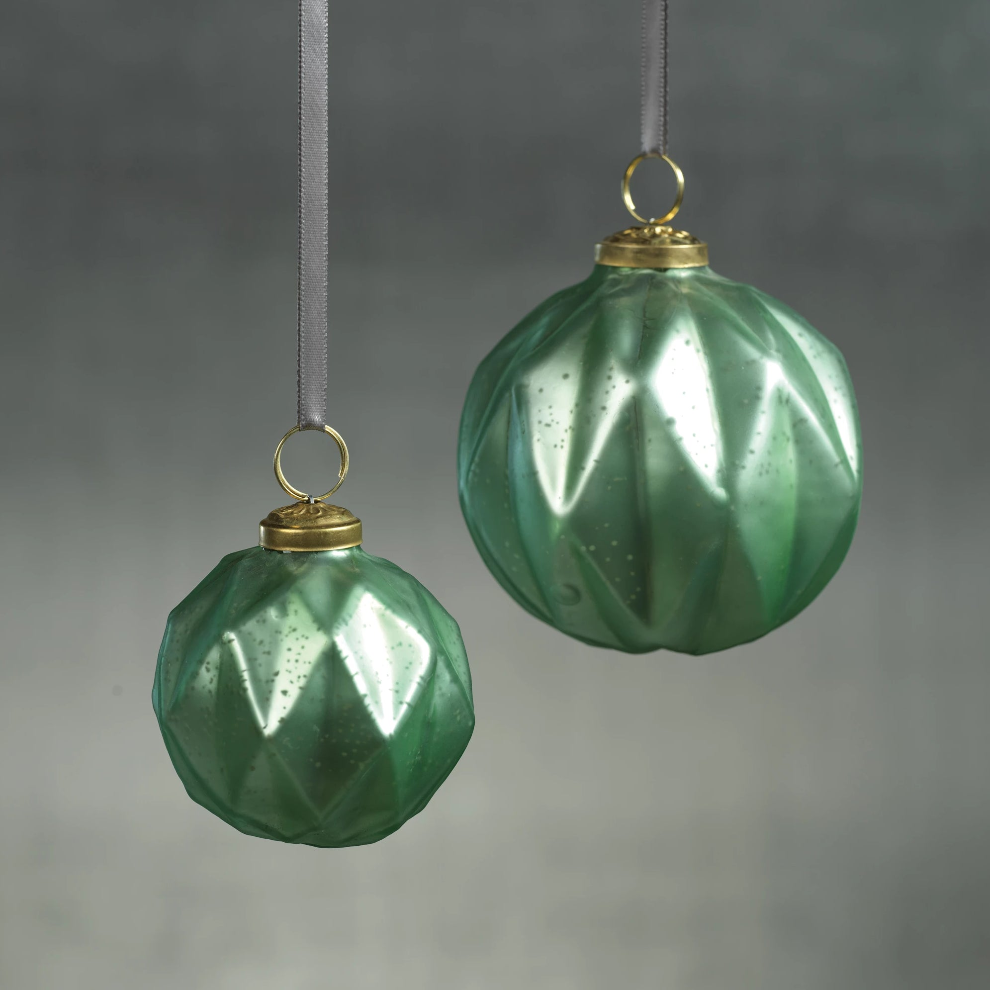 Faceted Glass Ornaments - Green