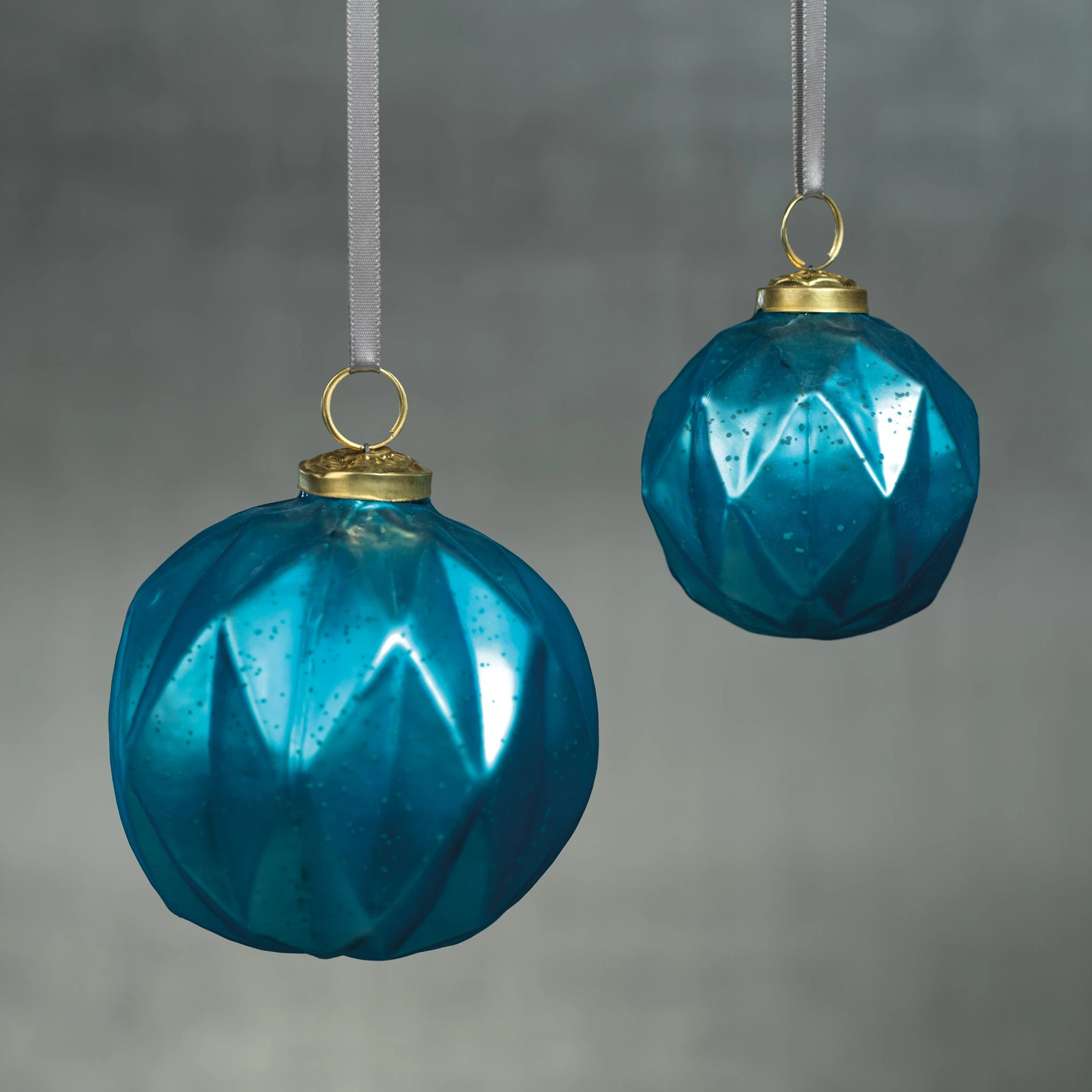 Faceted Glass Ornaments - Light Blue