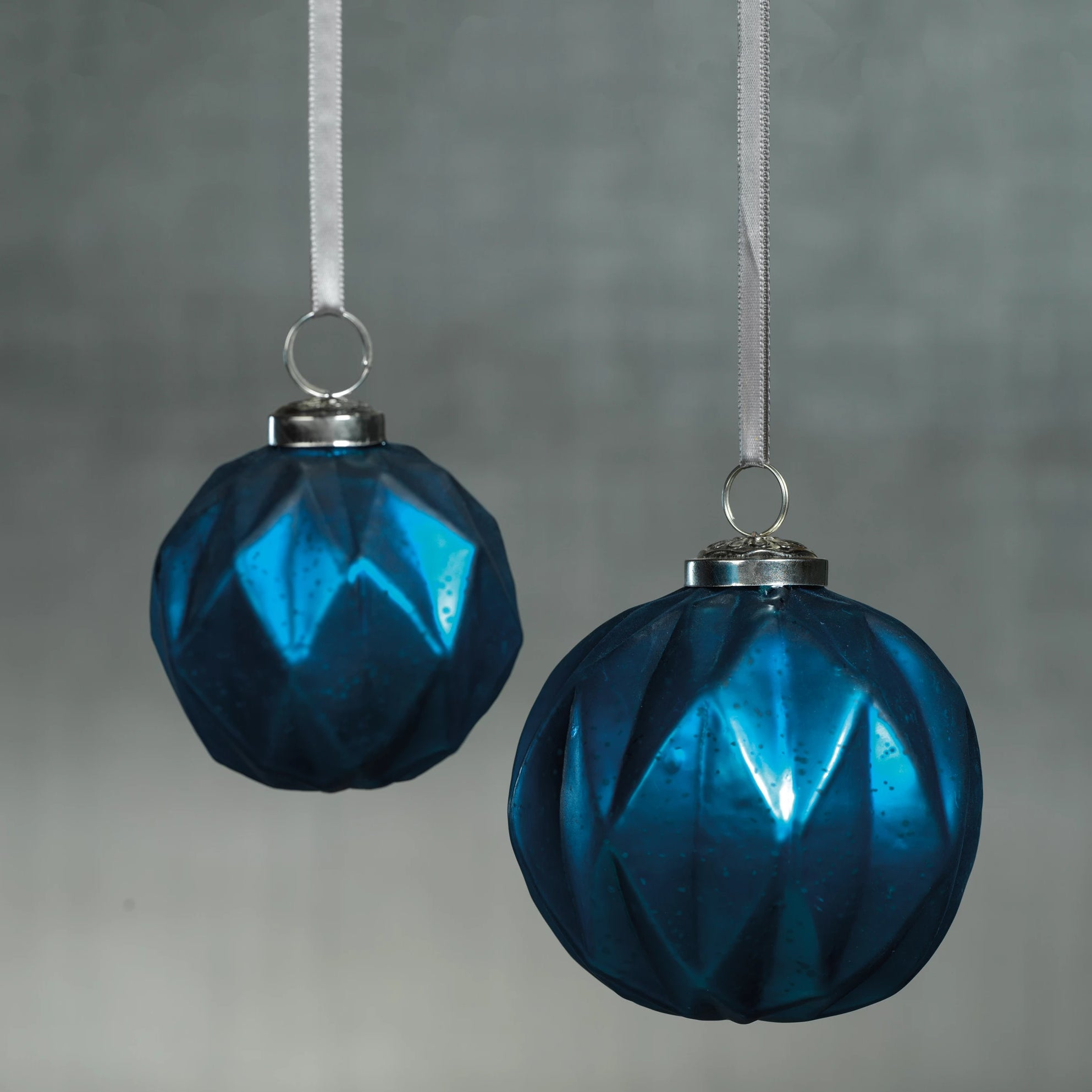 Faceted Glass Ornaments - Midnight Blue