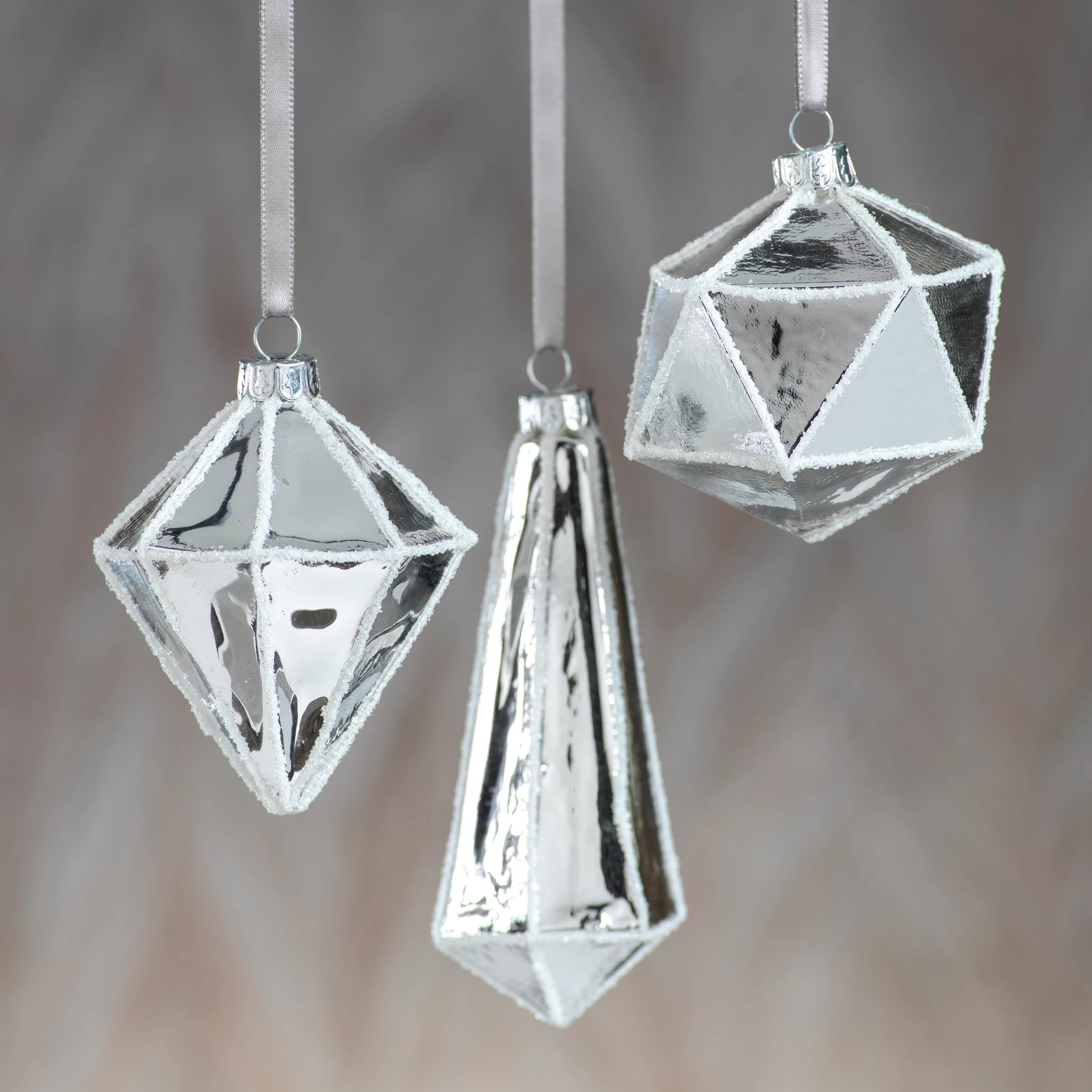 Metallic Silver Faceted Ornament