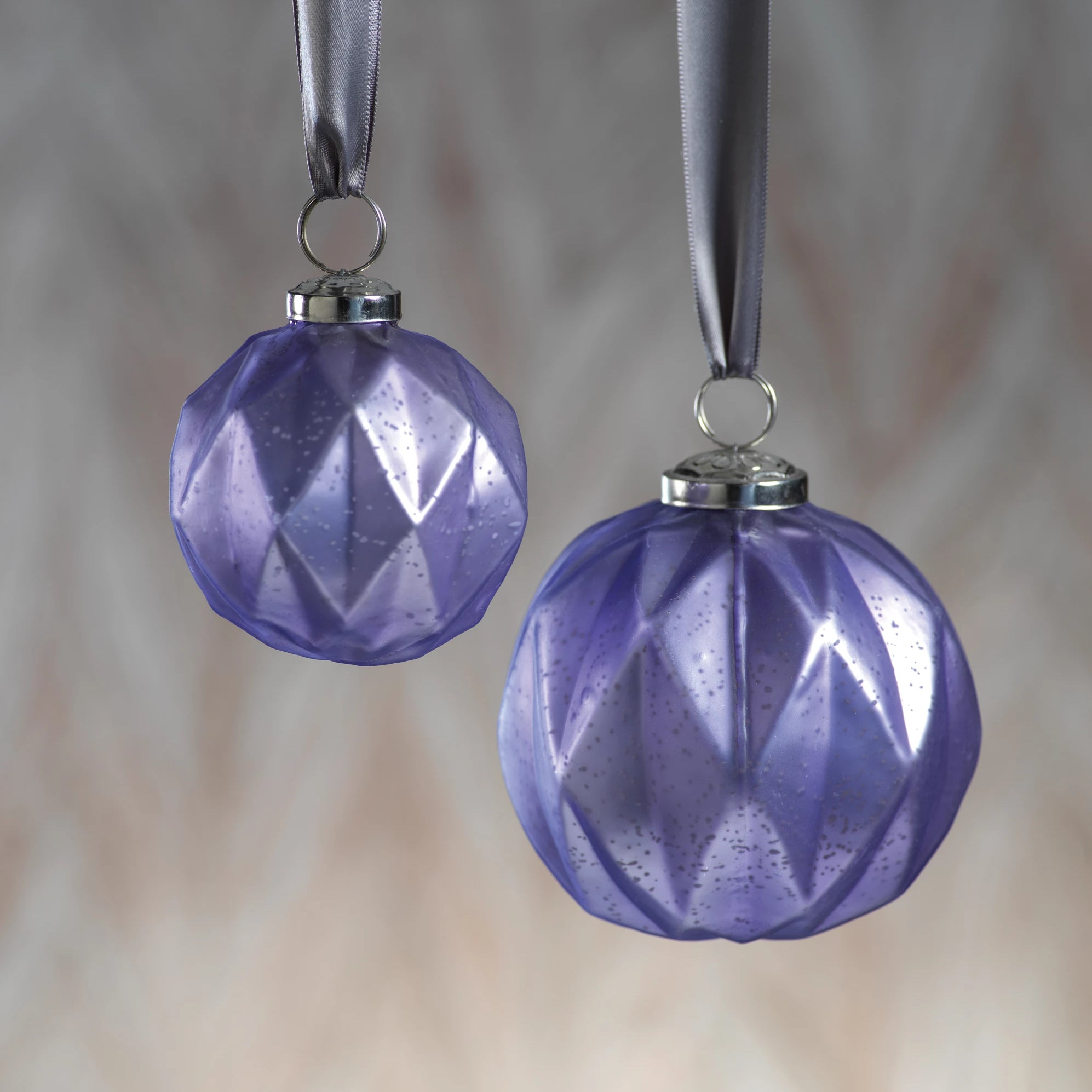 Faceted Glass Ornaments - Purple