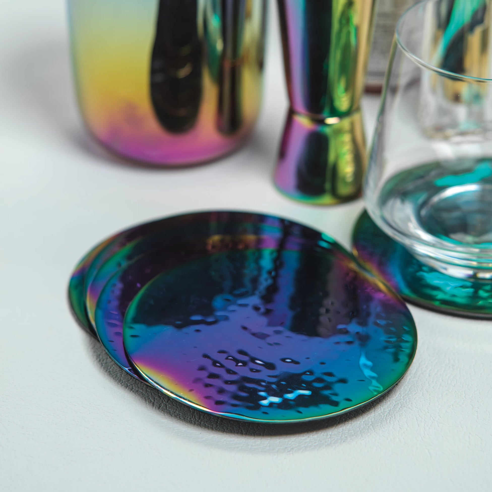 Set of 6 Hammered Rainbow Cocktail Coasters