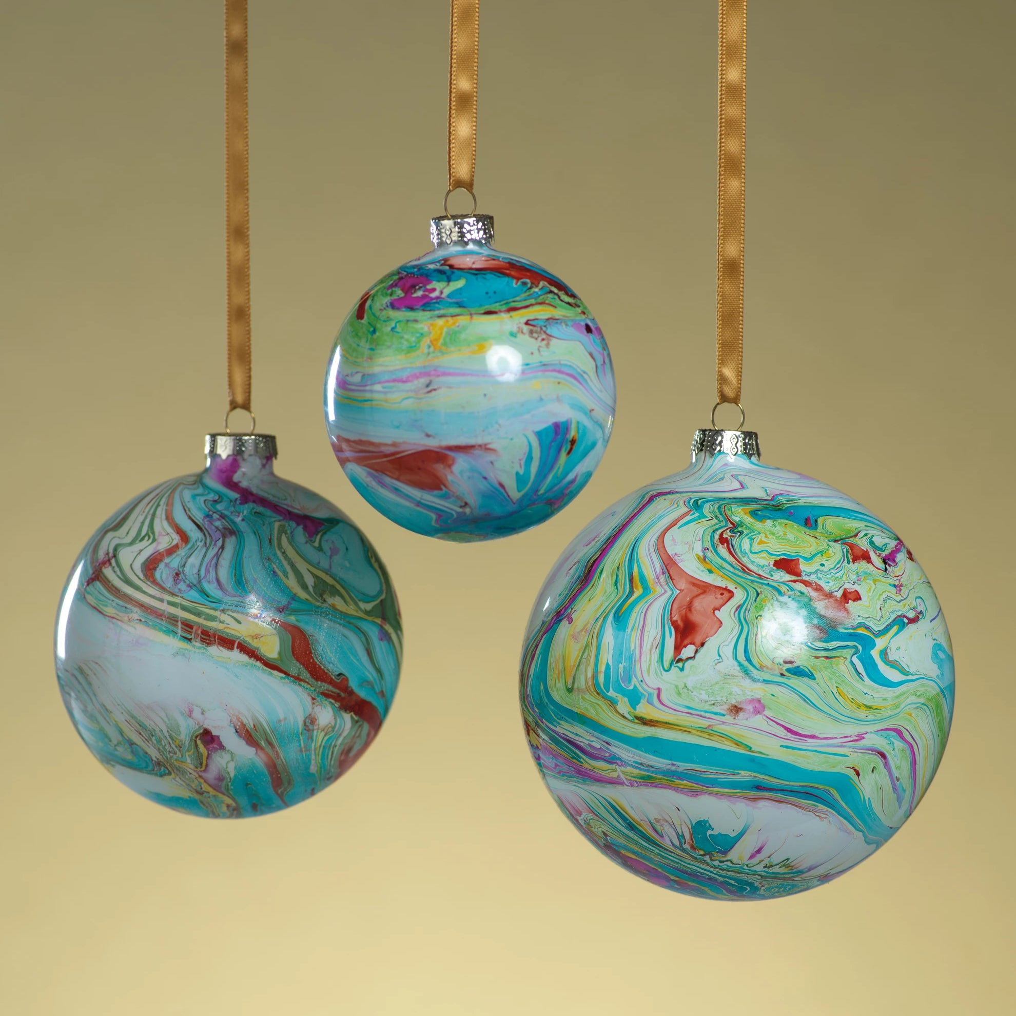 Marble Metallic Ornament - Multi Color - CARLYLE AVENUE
