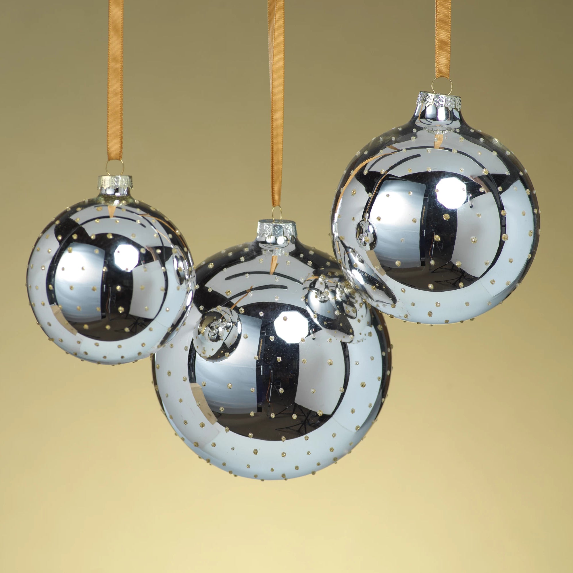 Silver Ball Ornament w/Gold Glitter Dots - CARLYLE AVENUE