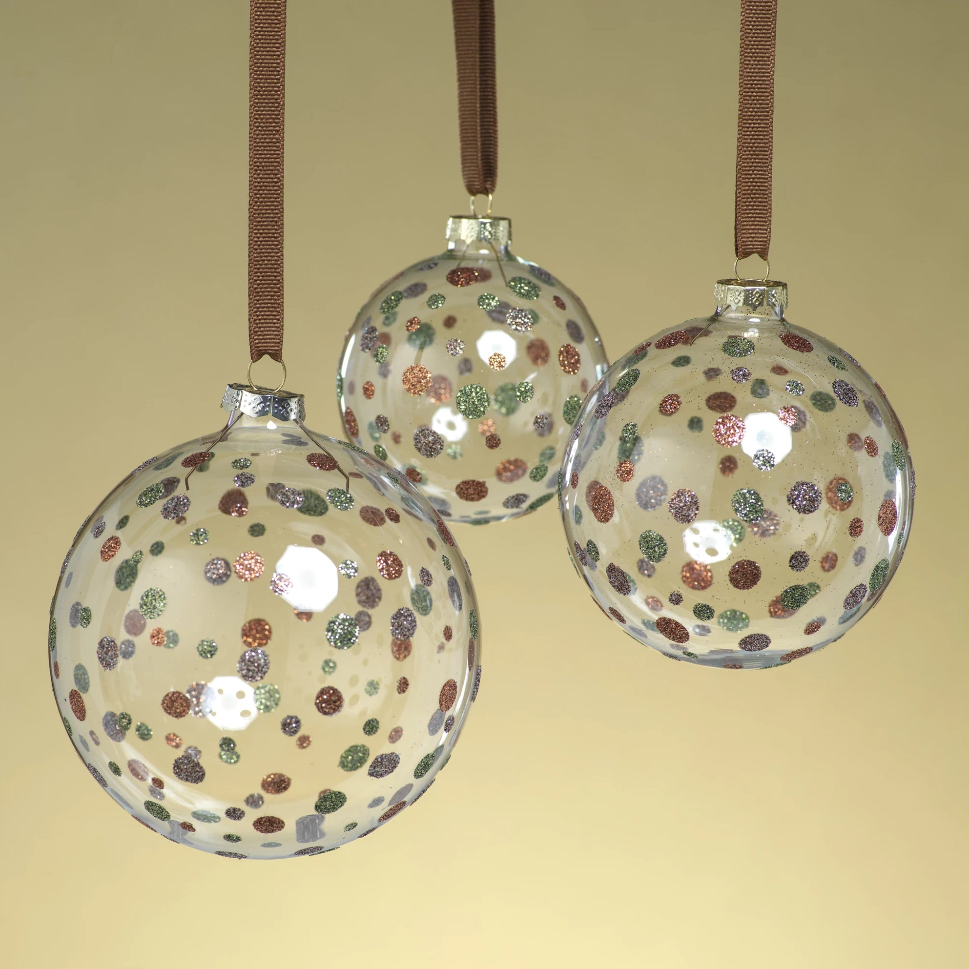 Clear Ball Ornament w/Glitter Dots - Green - CARLYLE AVENUE