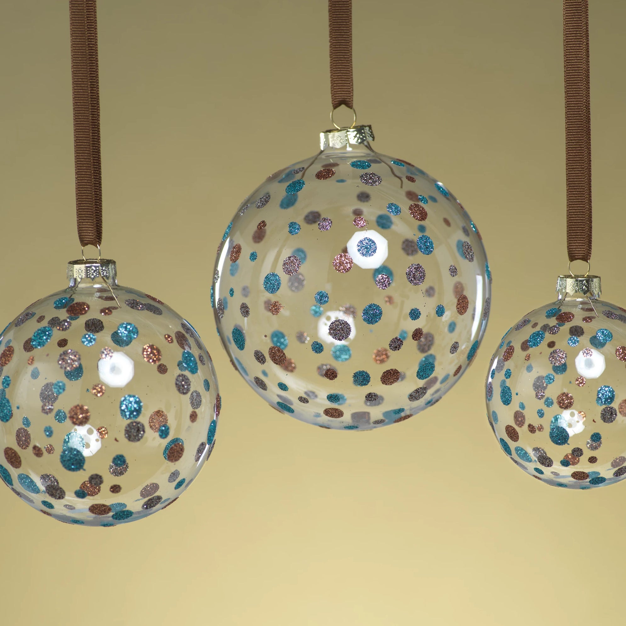 Clear Ball Ornament w/Glitter Dots - Blue - CARLYLE AVENUE