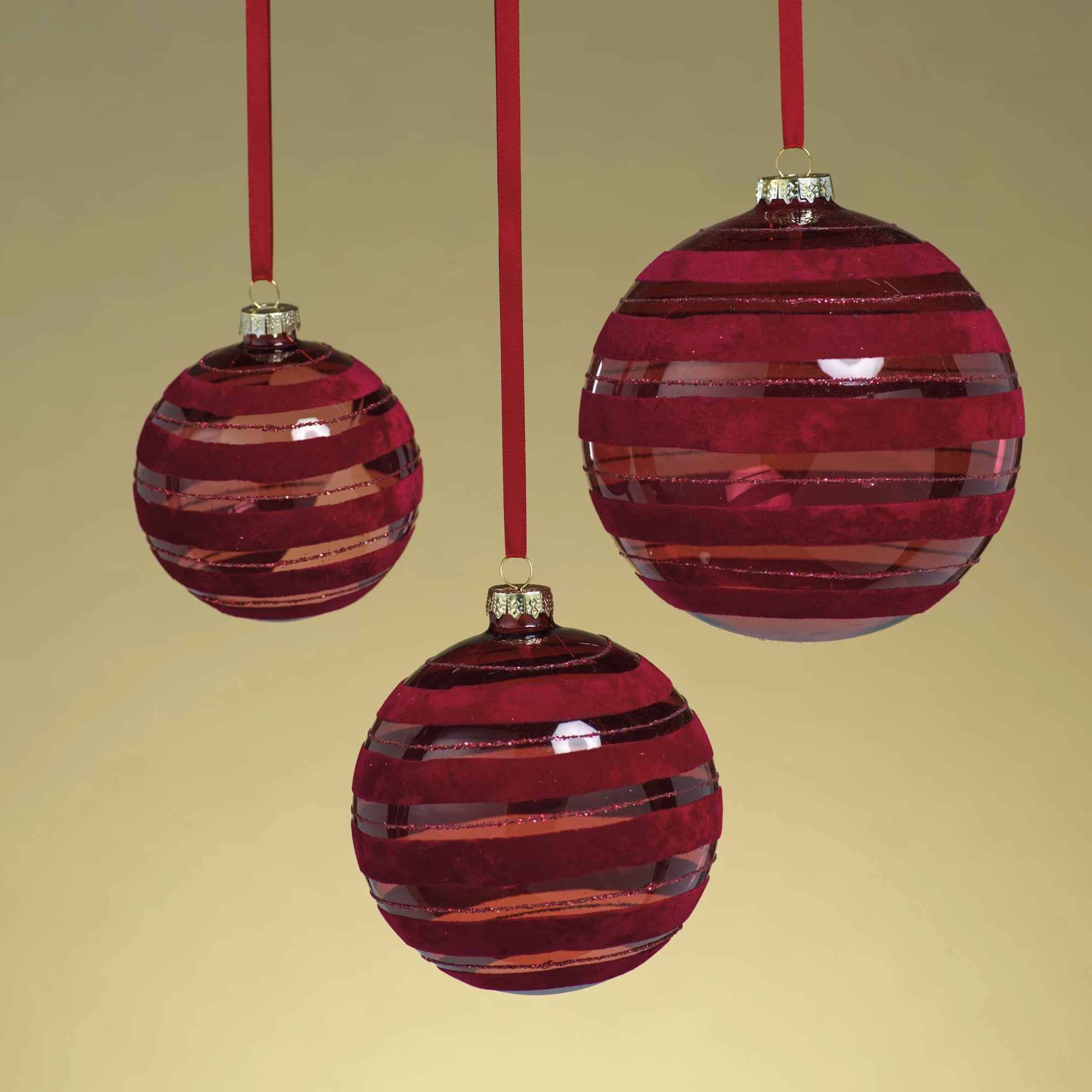Red Flocked Striped Ornament - CARLYLE AVENUE