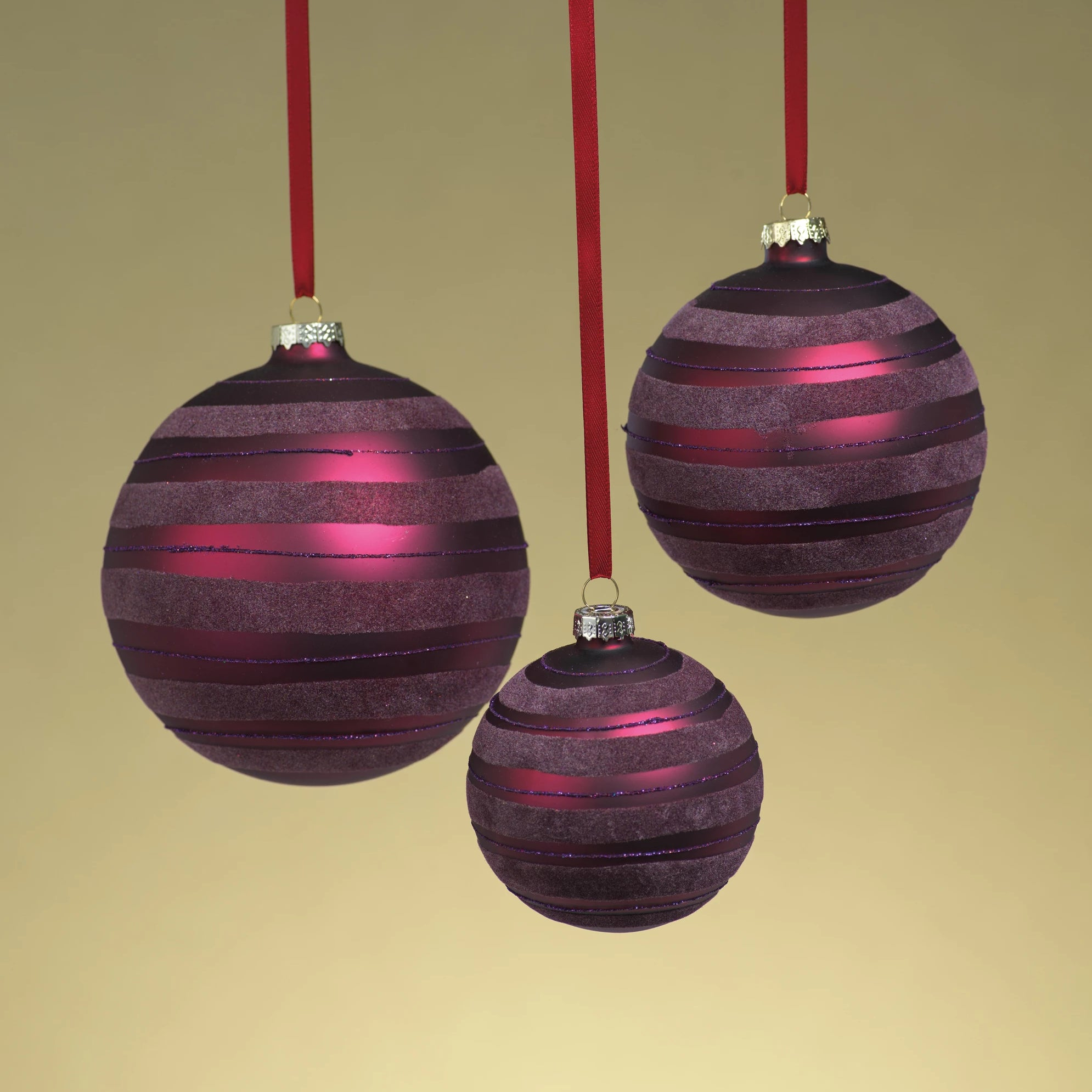 Metallic Burgundy Striped Ornament - CARLYLE AVENUE