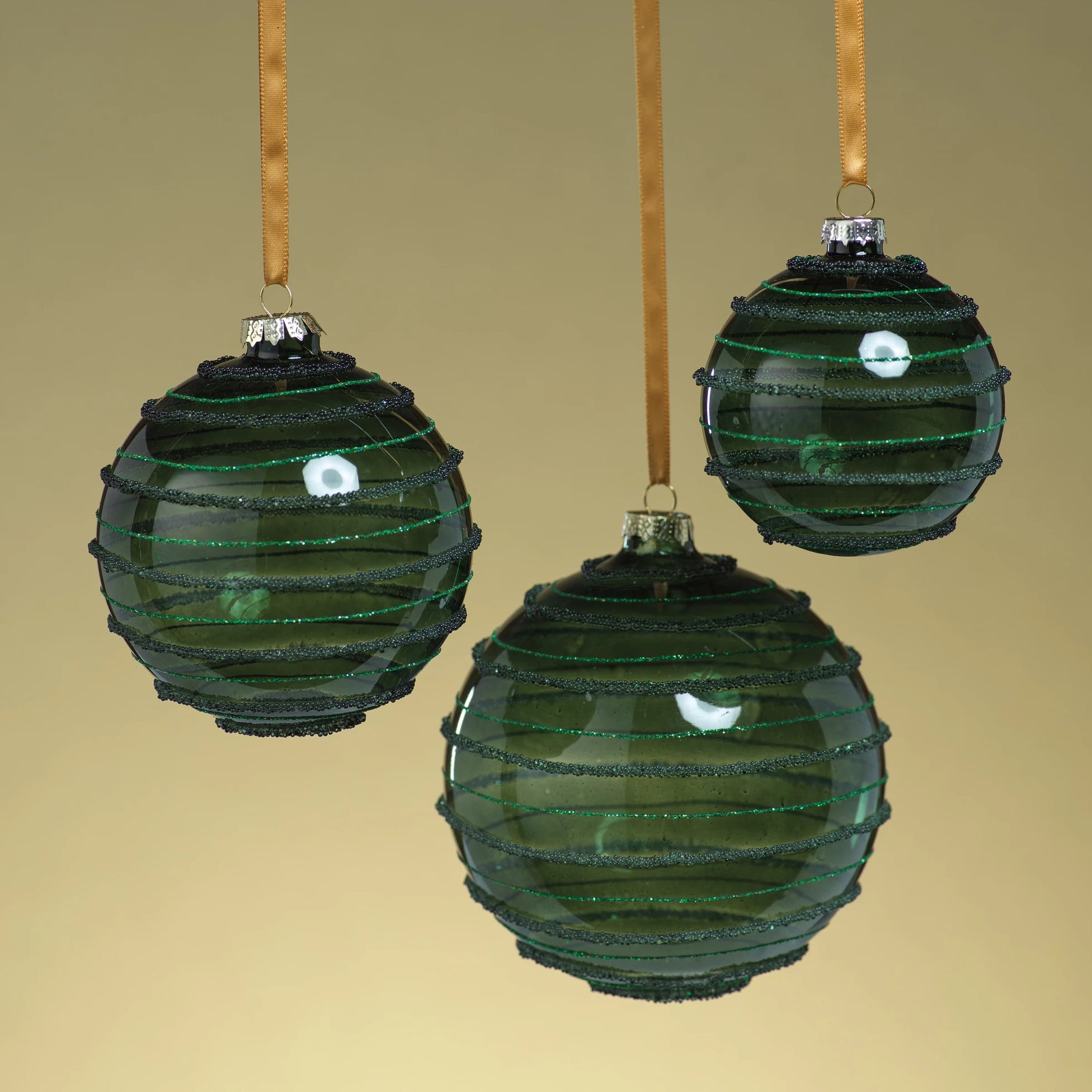 Green Striped Beaded Ornament - CARLYLE AVENUE