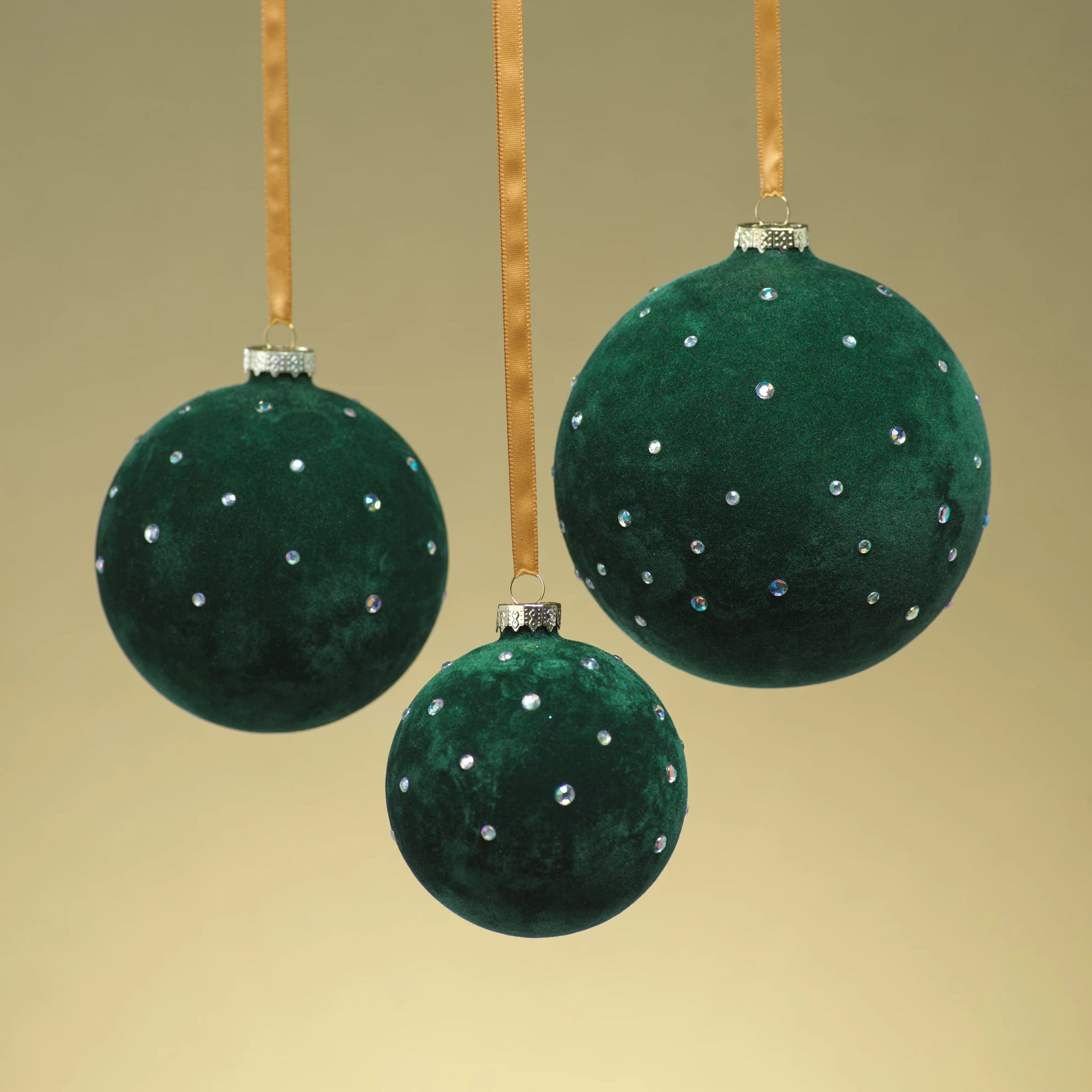 Flocked Ornament w/ Clear Studs