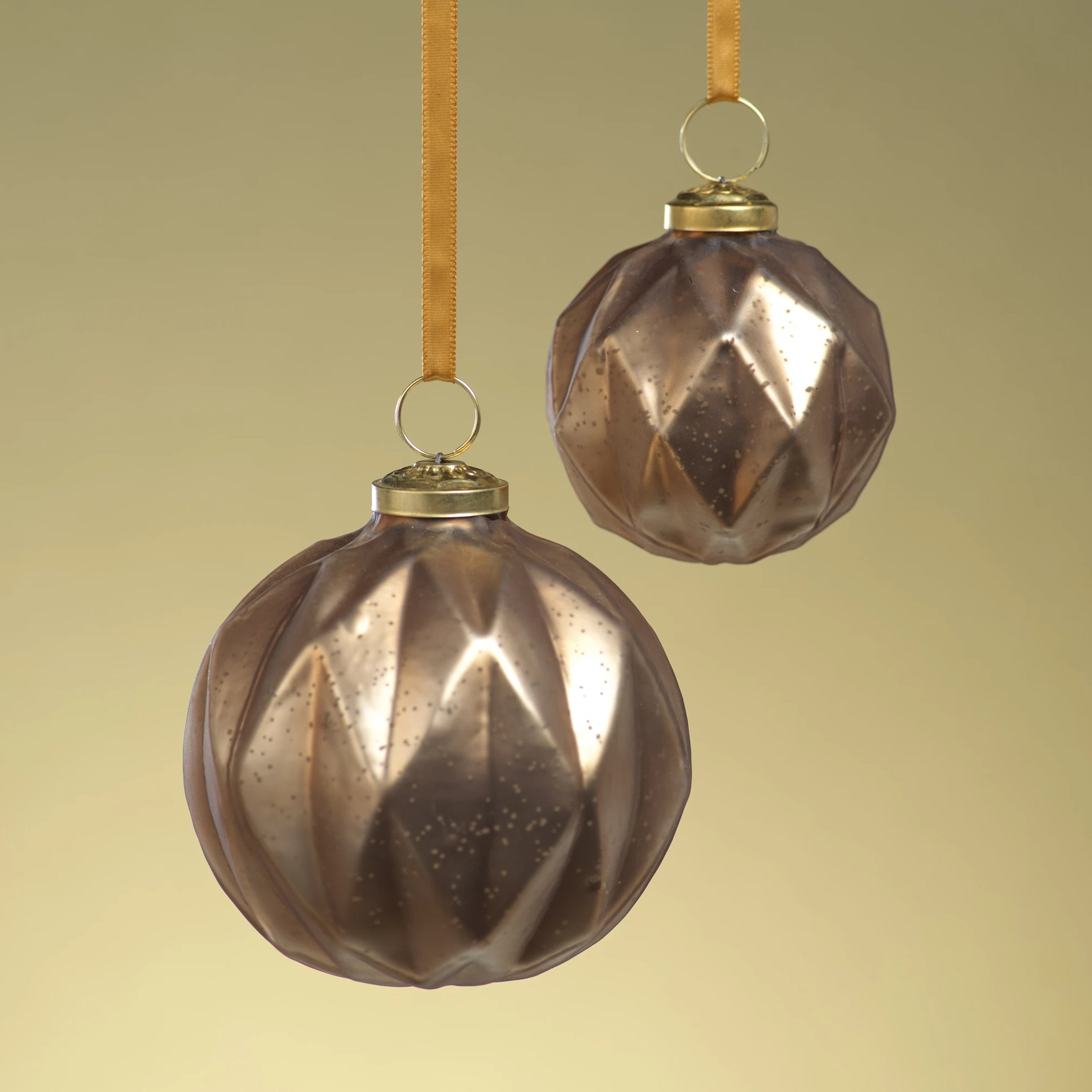 Faceted Glass Ornaments - Gold