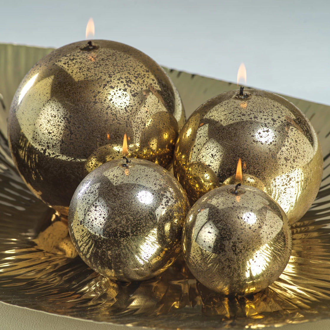 Shiny Metallic Ball Candle - Antique Gold - CARLYLE AVENUE