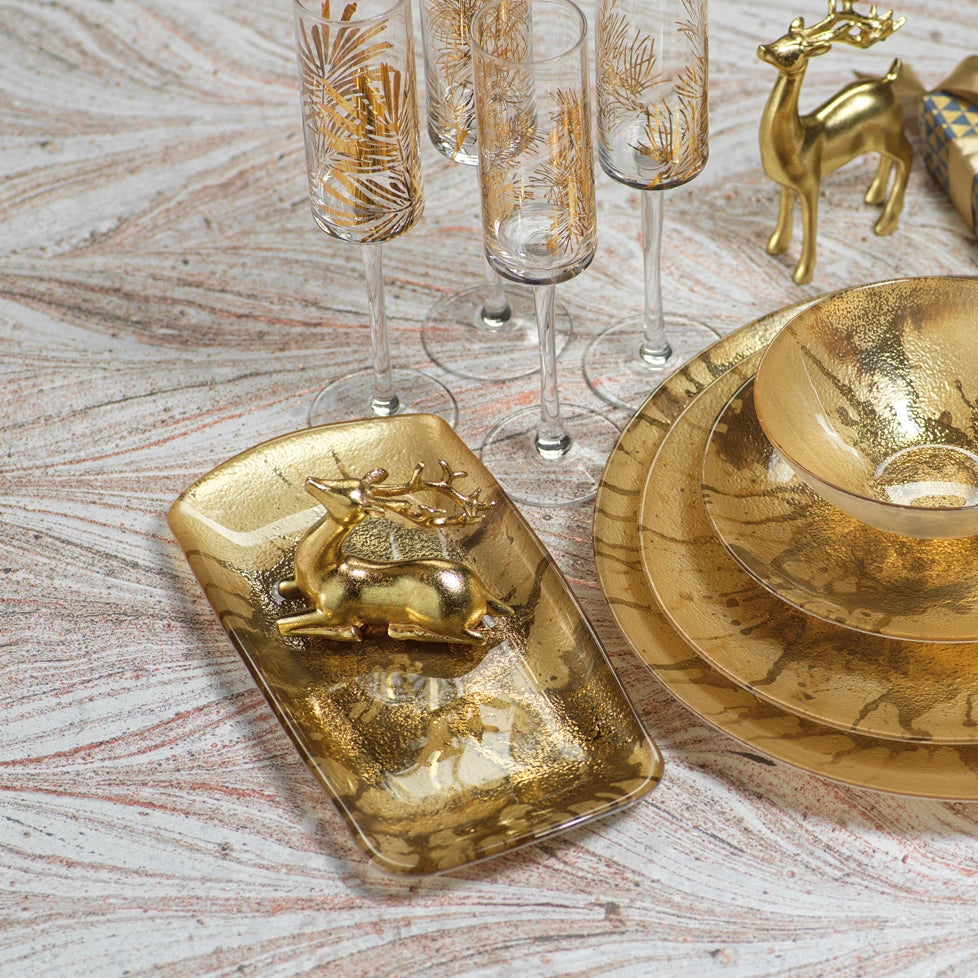 Golden Pearl Metallic Watercolor Serving Tray - CARLYLE AVENUE
