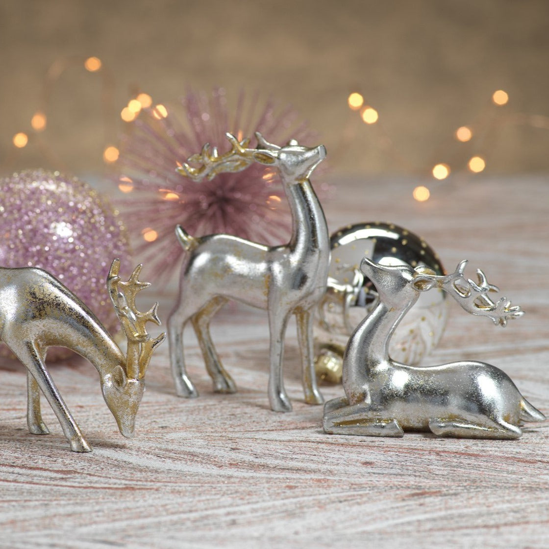 Decorative Silver Reindeer in Assorted Sizes - Set of 3