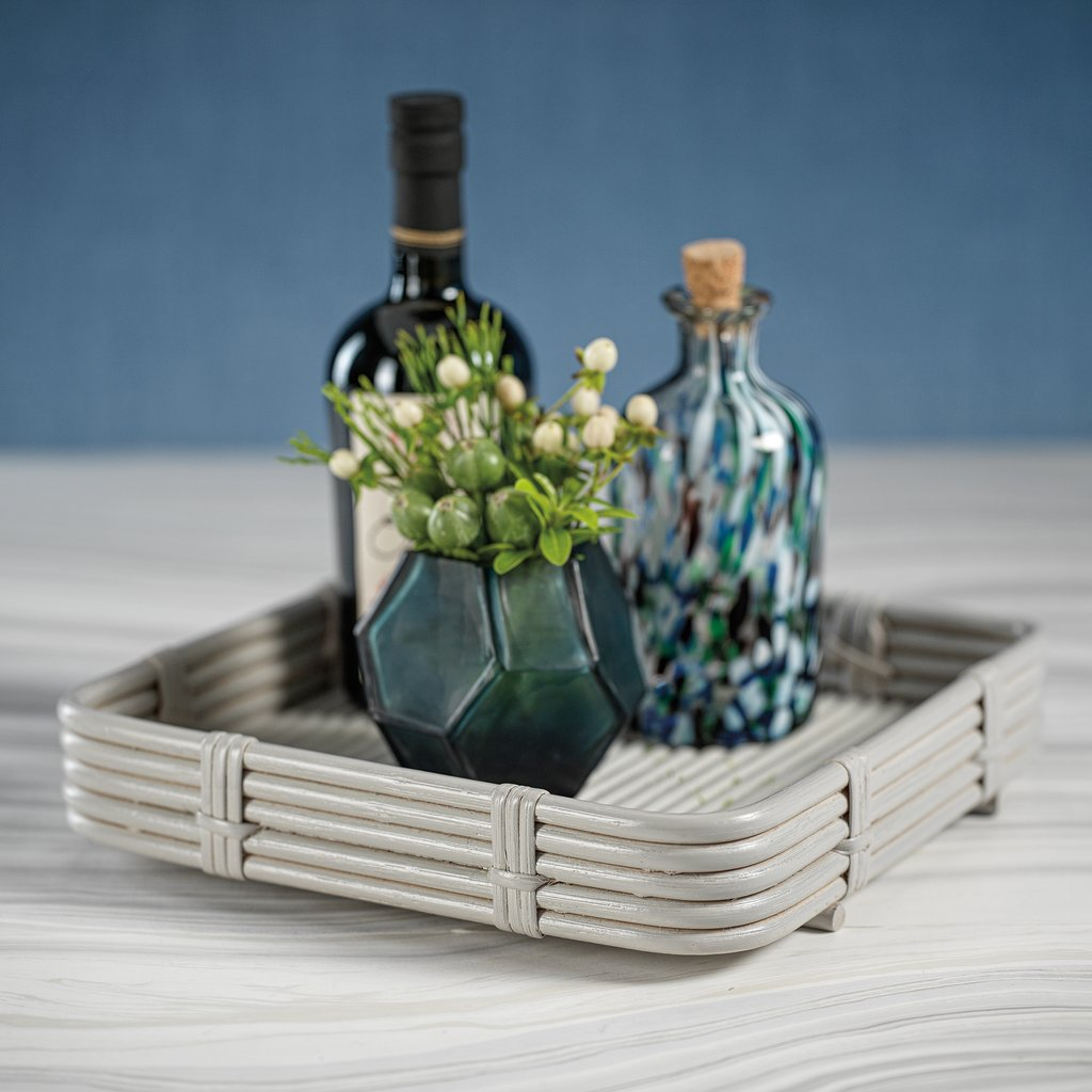Avalon Rattan Serving Tray - Gray - Square