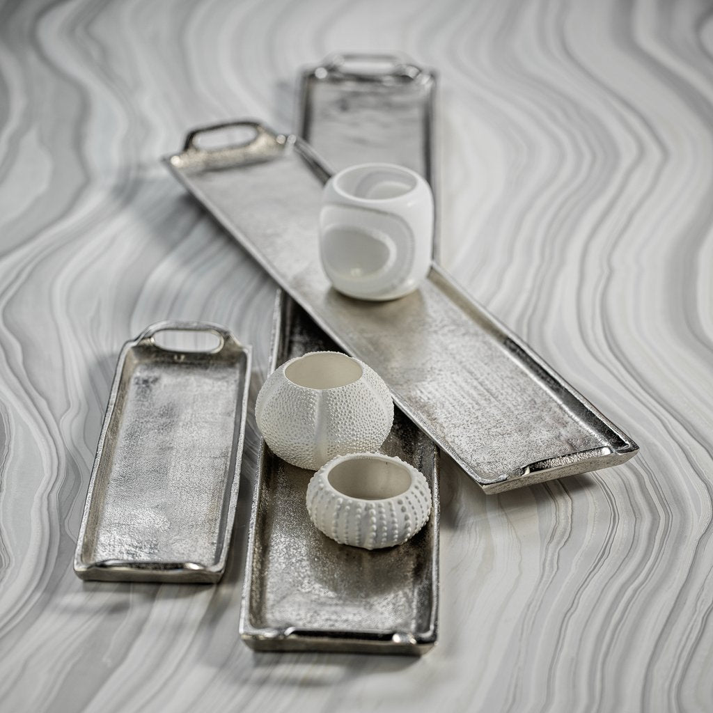 Rectangular Aluminum Tray - Silver Nickel
