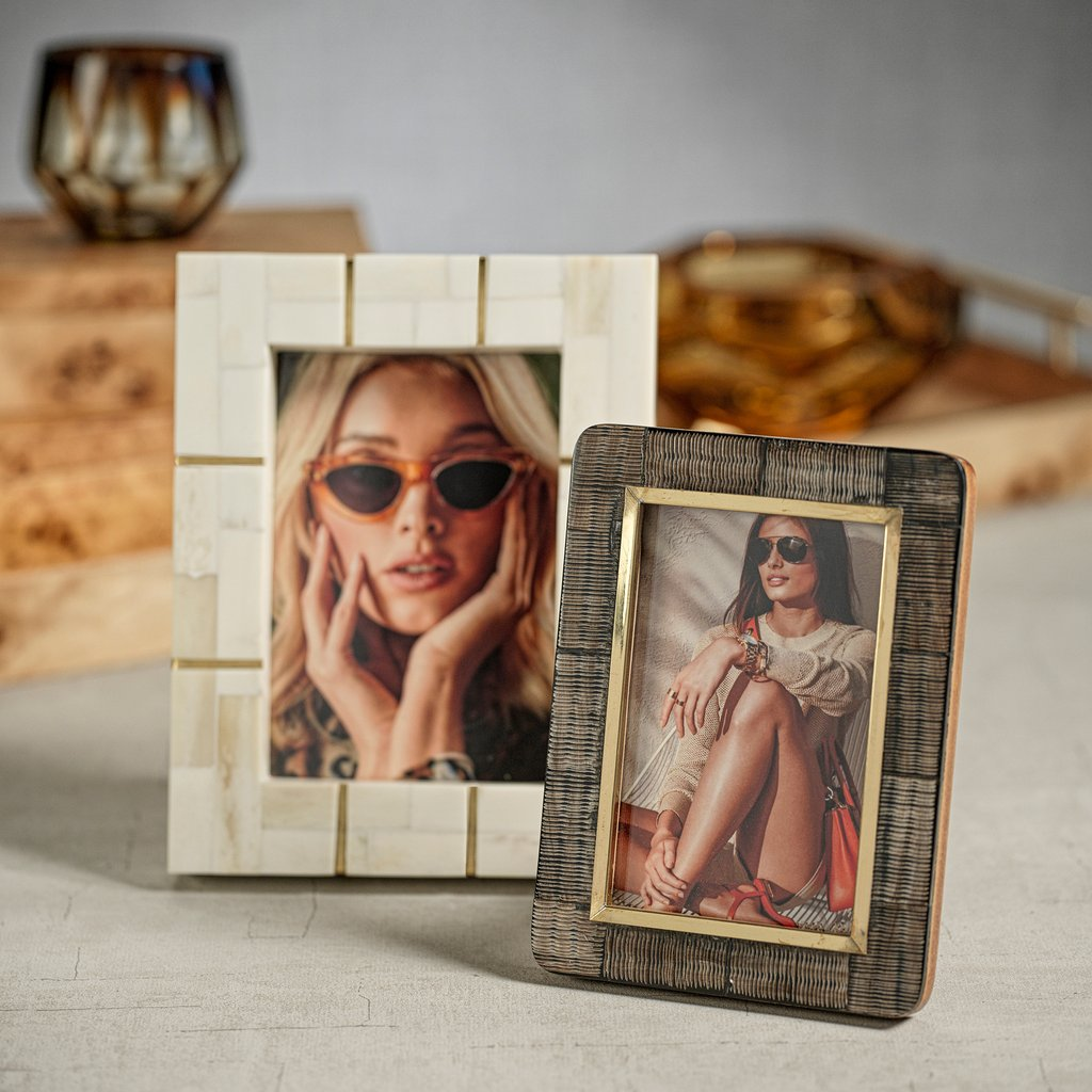 Shagrin Horn Inlaid Photo Frame