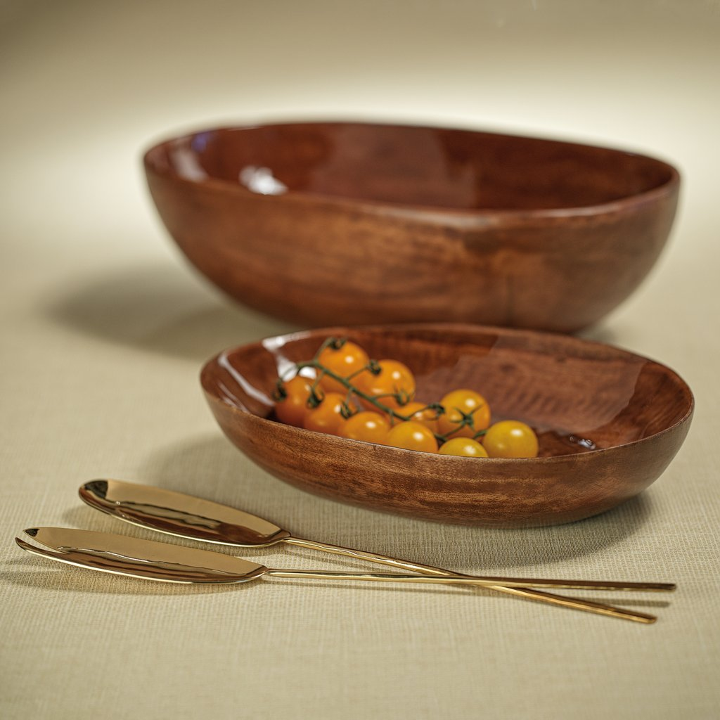 Gabonese Oval Mango Wood Bowl - Walnut Enamel