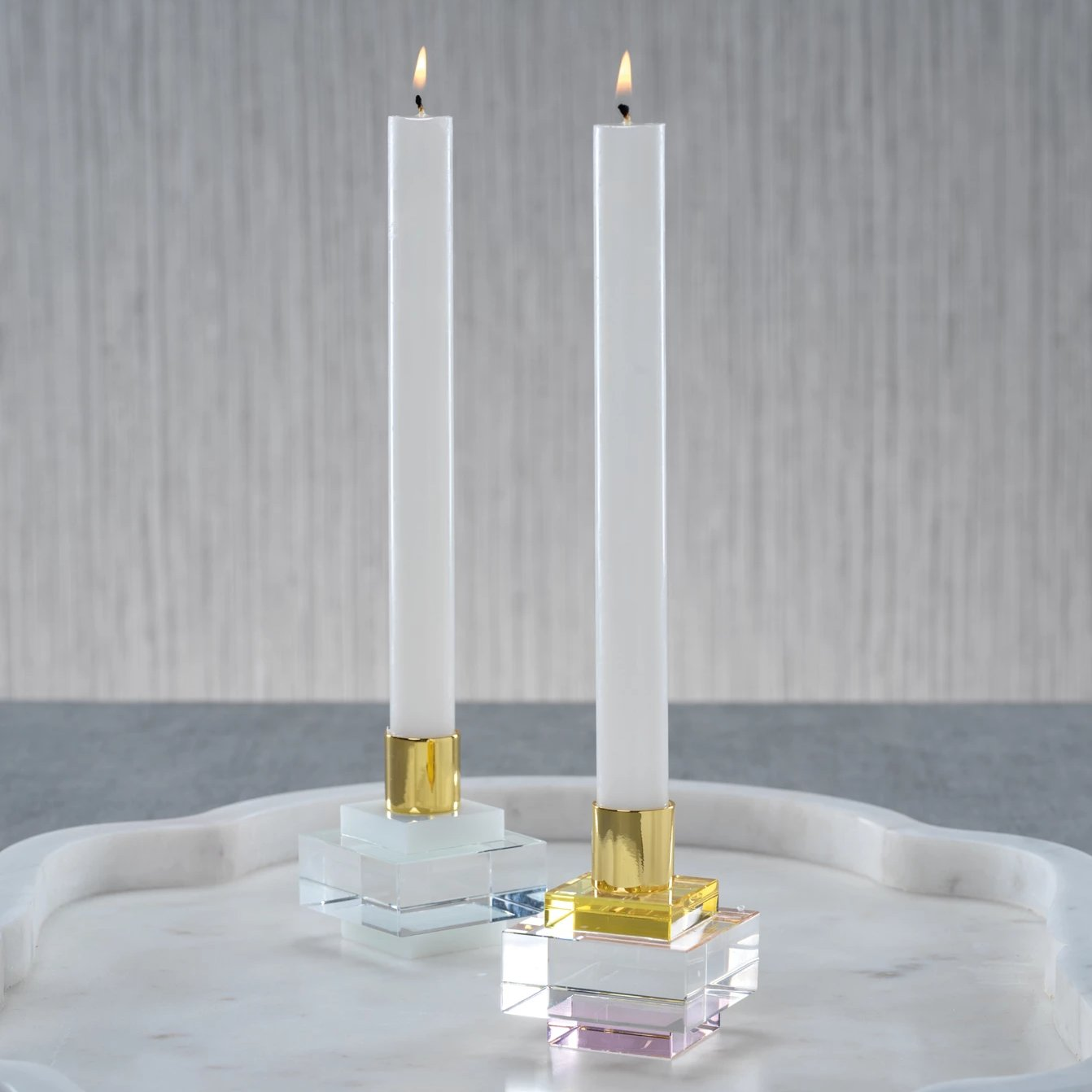Vera Crystal Square Candle Holder - CARLYLE AVENUE