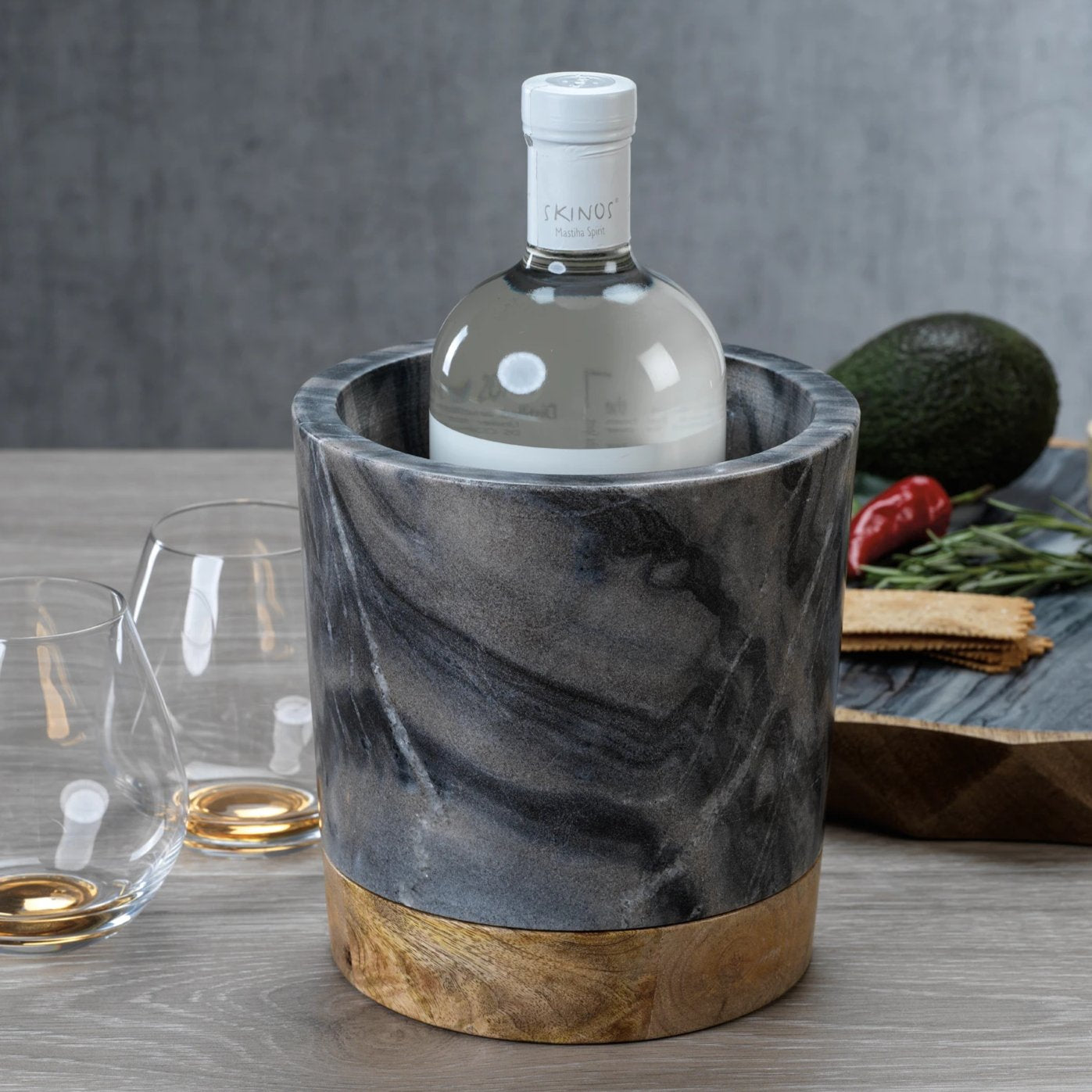 San Ramon Wood & Gray Marble Ice Bucket - CARLYLE AVENUE