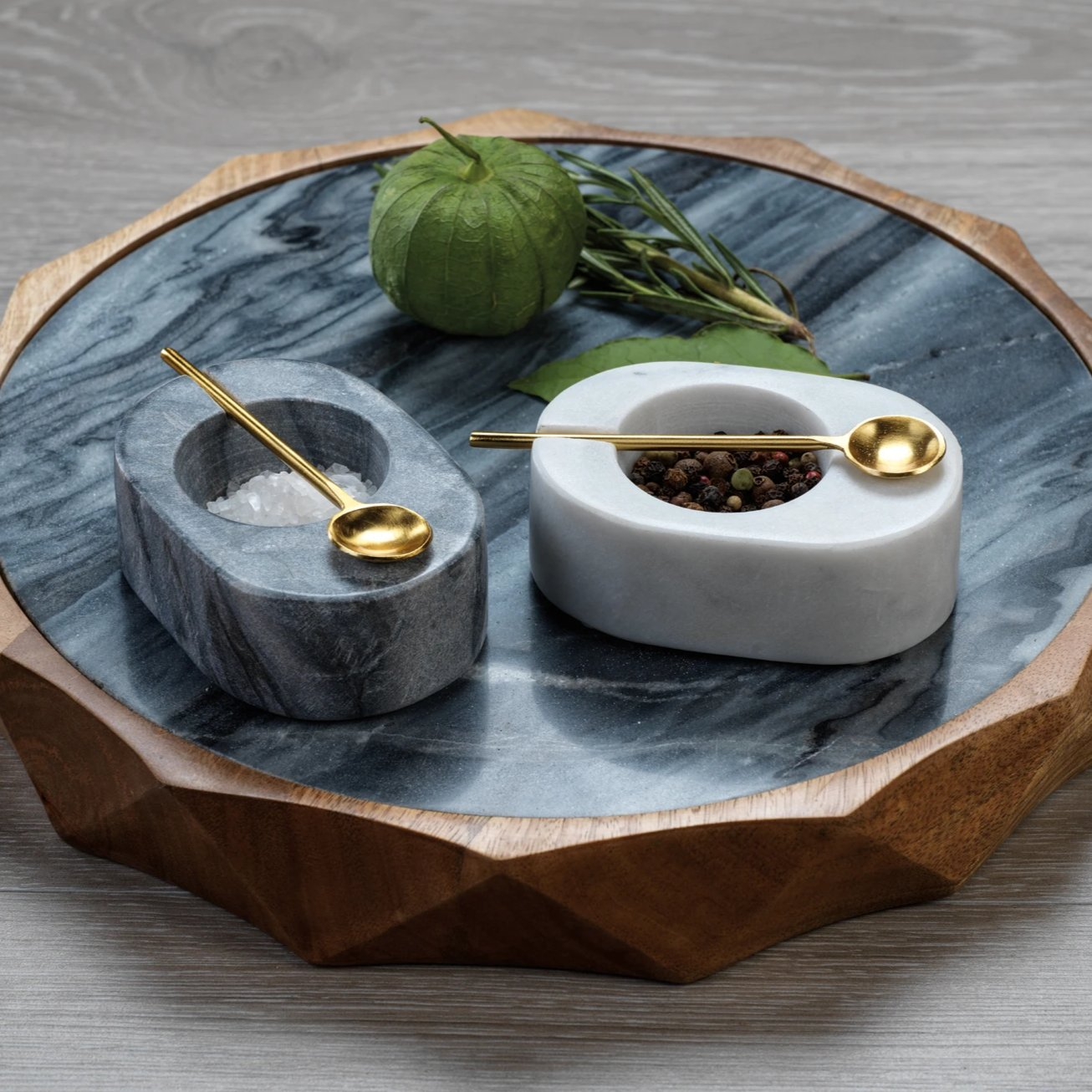 Tuscan Marble Salt & Pepper Bowl with Gold Spoon - CARLYLE AVENUE