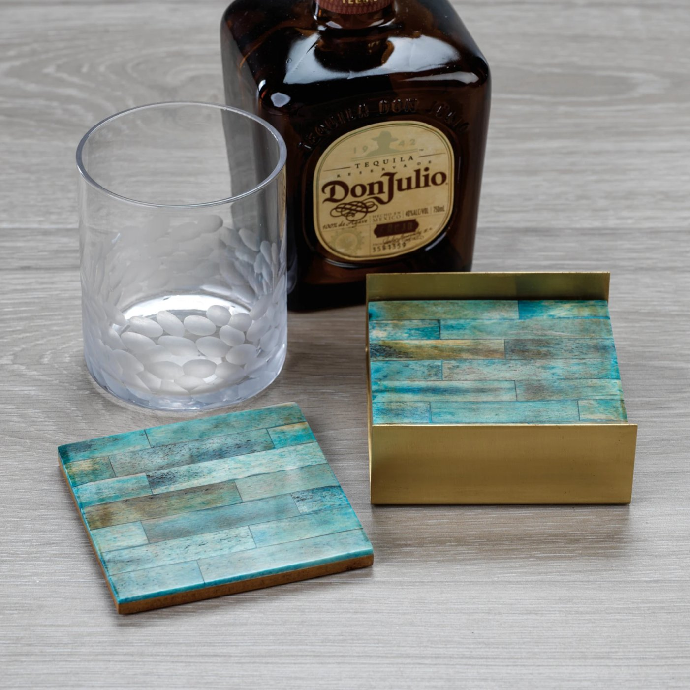 Set of 4 Coasters on Metal Tray - Green/Gold - CARLYLE AVENUE