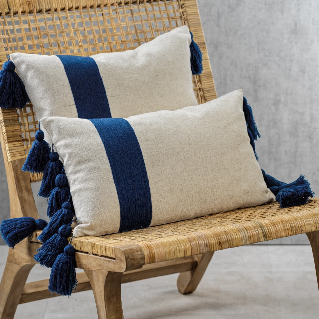 Polignano Embroidered Throw Pillow w/Tassels - Navy - CARLYLE AVENUE
