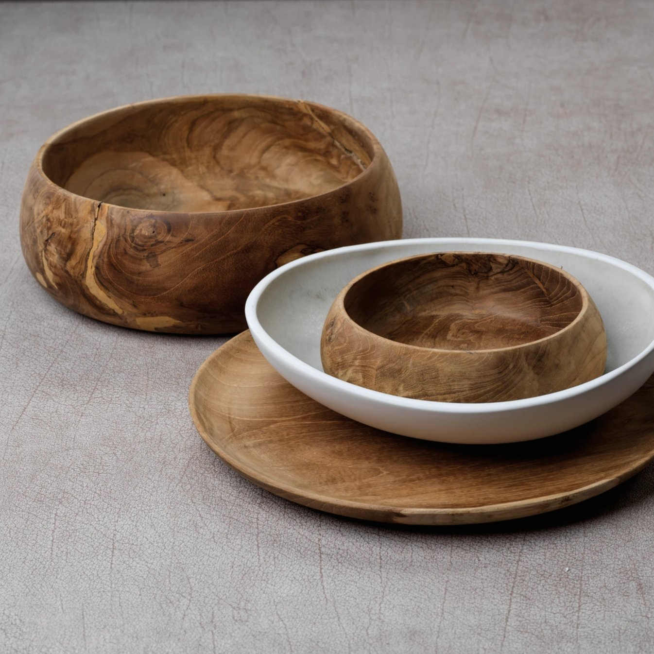 Bali Teak Wood Bowls - Set of 3 - CARLYLE AVENUE