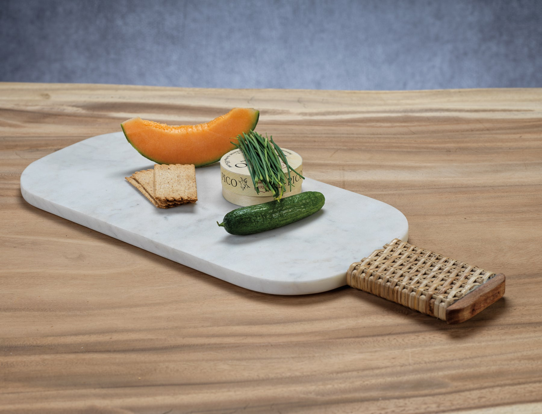 Marble Cheese & Charcuterie Board w/ Woven Cane Handle - CARLYLE AVENUE