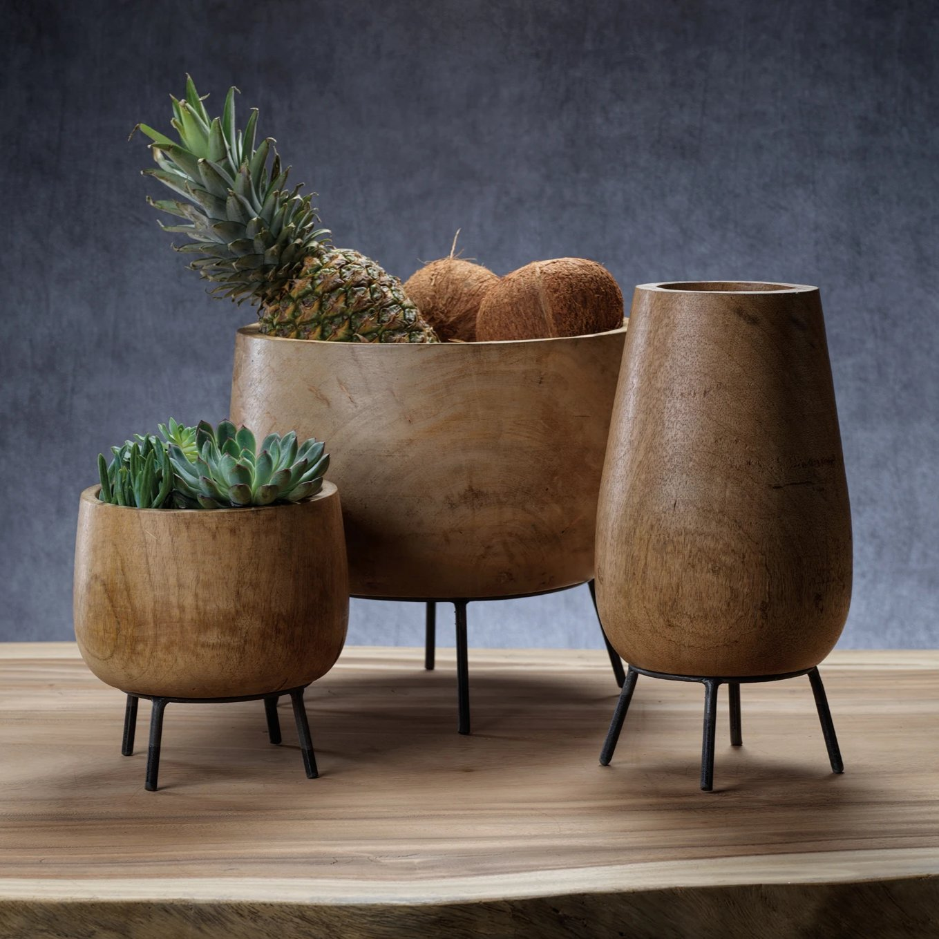 Mango Wood Bowl on Metal Stand - CARLYLE AVENUE