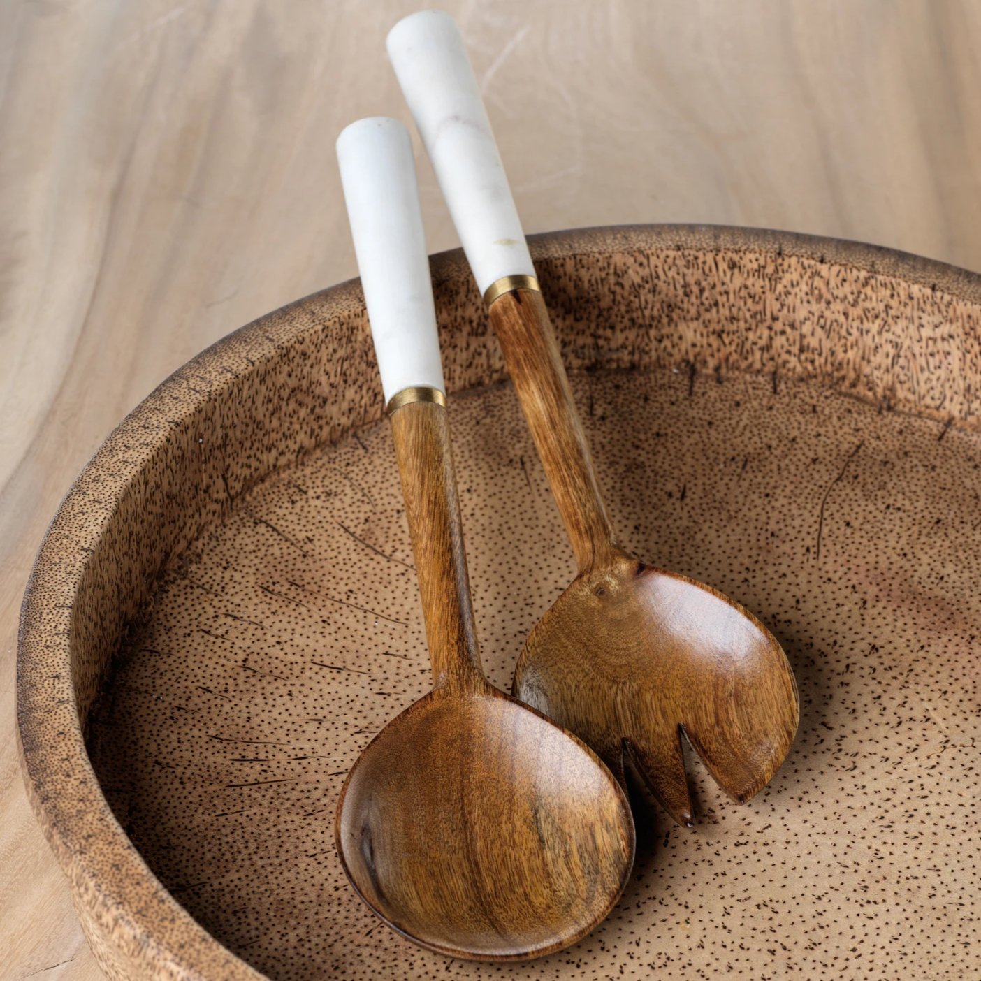 Heritage Mango Wood and Marble Salad Sever Set - CARLYLE AVENUE