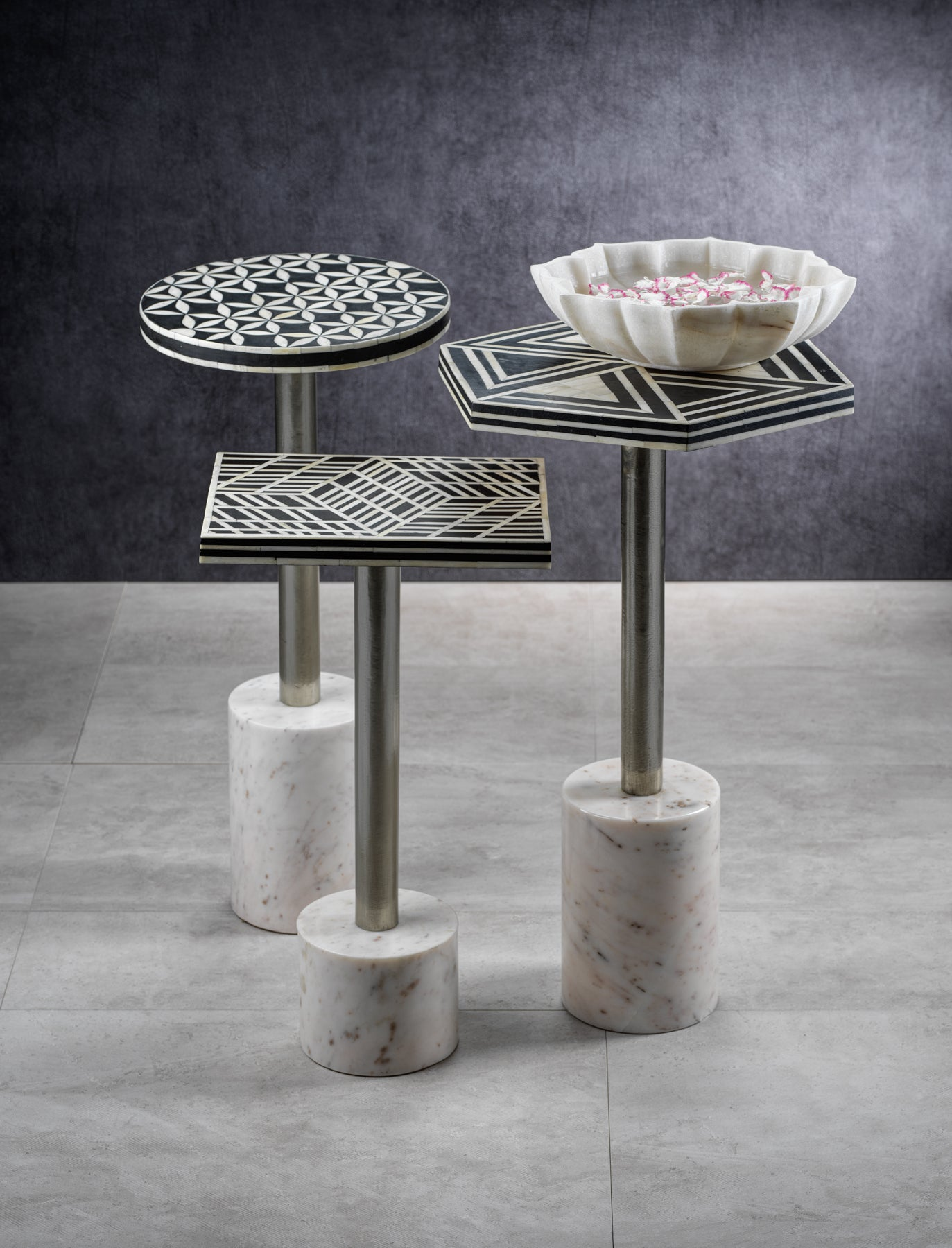 Sultana Hexagon Cocktail Table on Marble Base - CARLYLE AVENUE