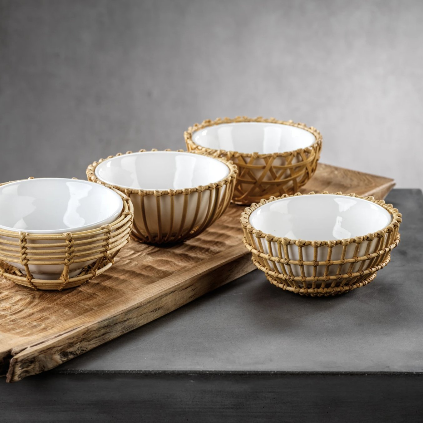 Wicker & Bamboo Condiment Bowls s/4 Assorted - CARLYLE AVENUE