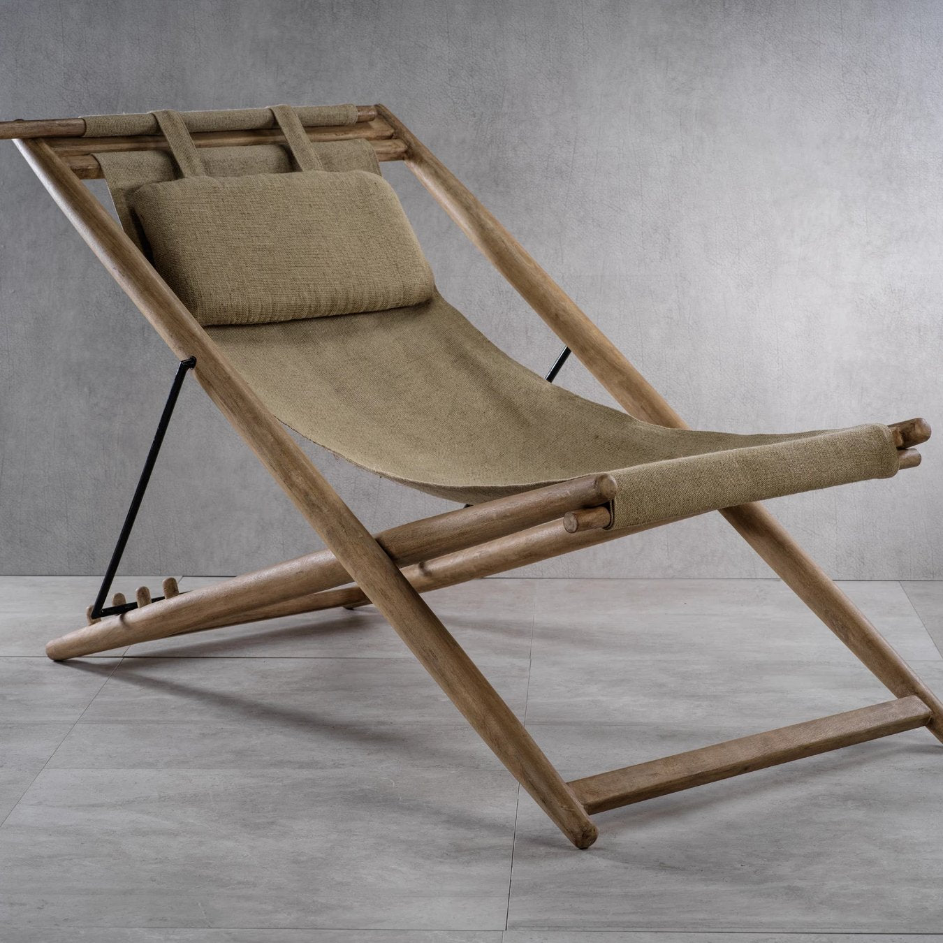 Sand River Mango Wood & Jute Chaise Lounge Chair - CARLYLE AVENUE