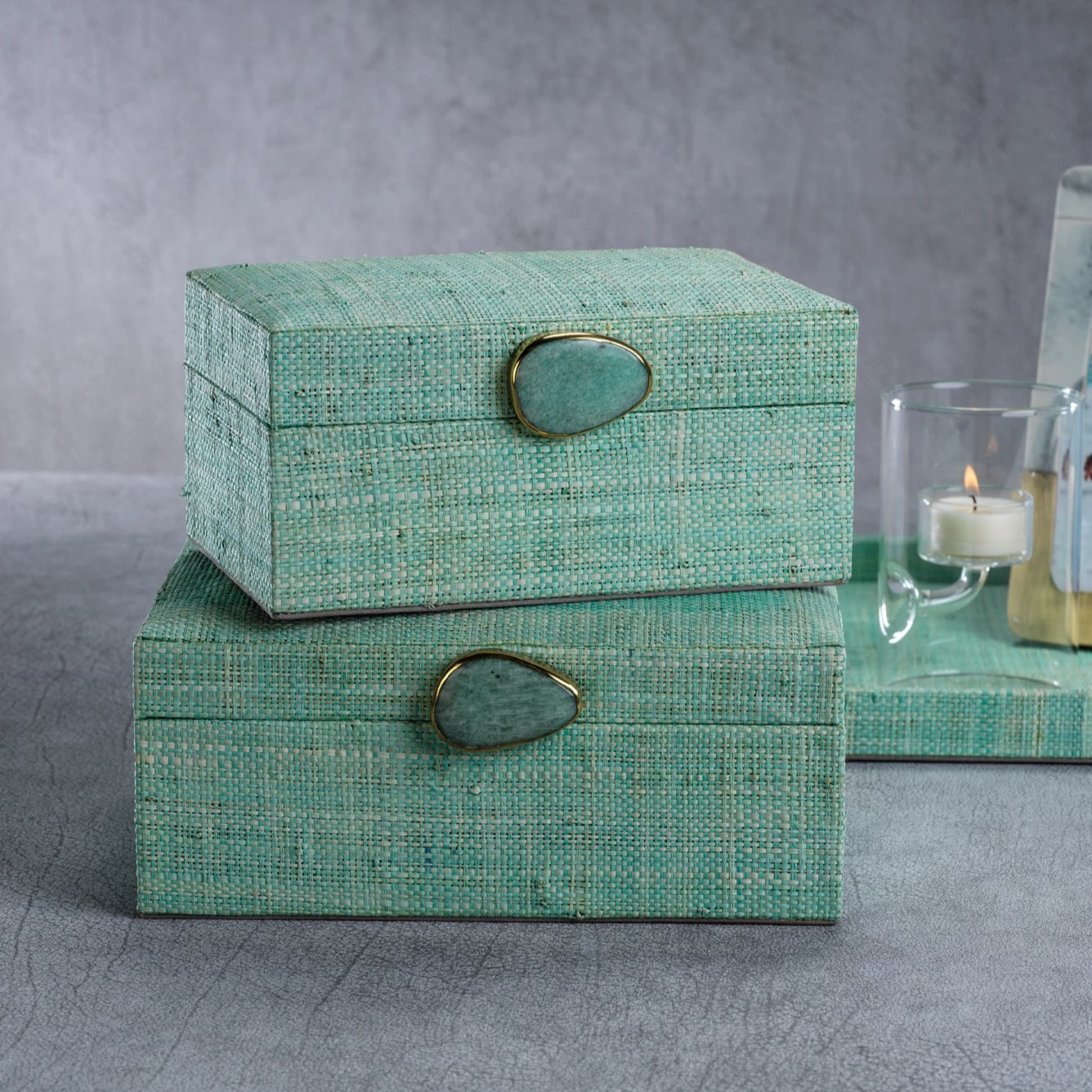 Raffia Palm Box with Stone Accent - Jade - CARLYLE AVENUE