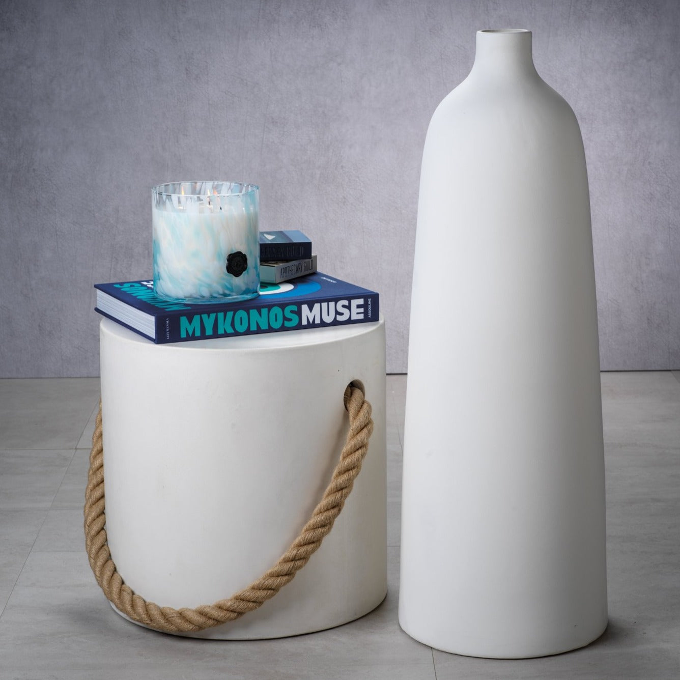 Bari All White Earthenware Vase - CARLYLE AVENUE