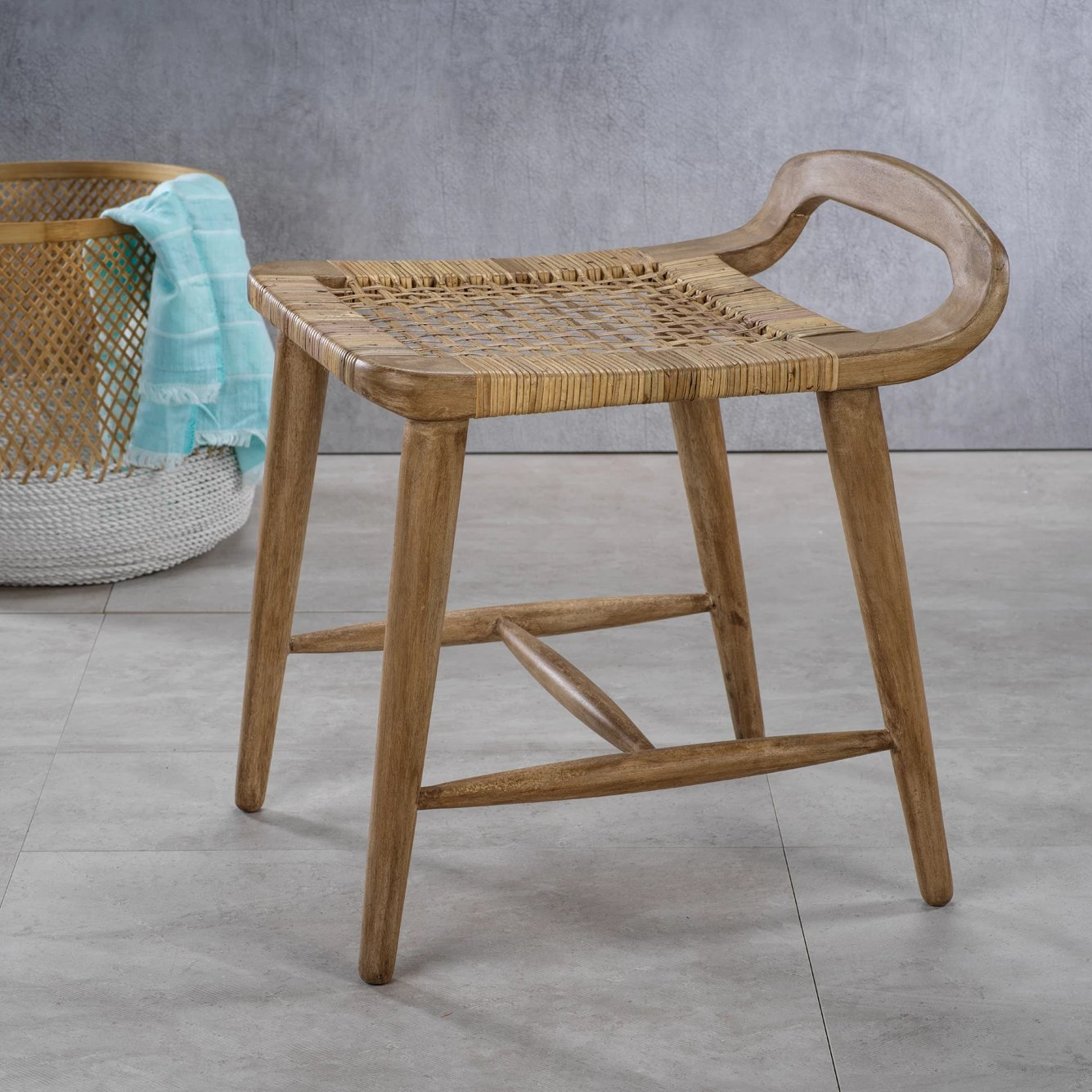 Sand River Mango Wood & Cane Side Stool - CARLYLE AVENUE