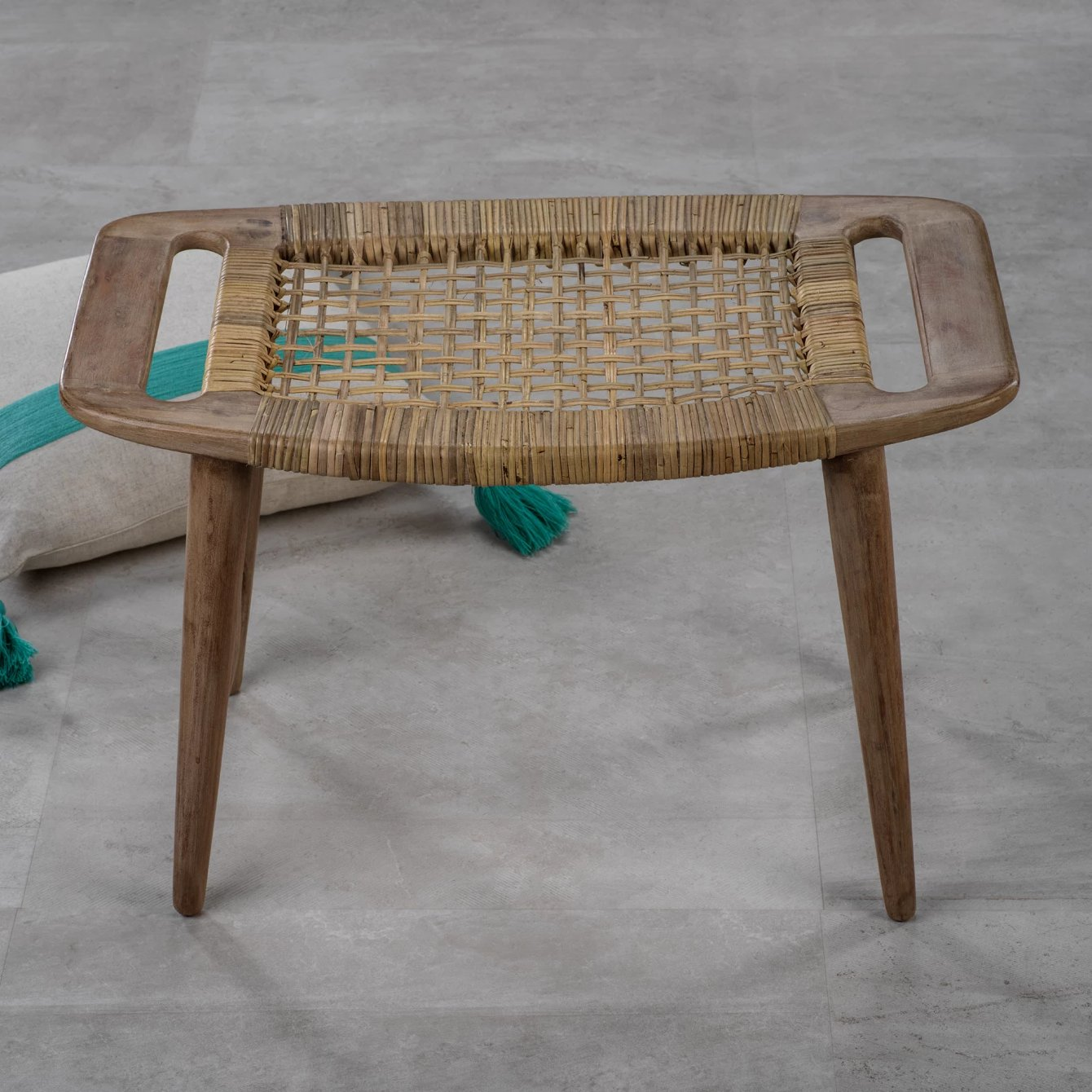 Sand River Mango Wood & Cane Stool - CARLYLE AVENUE