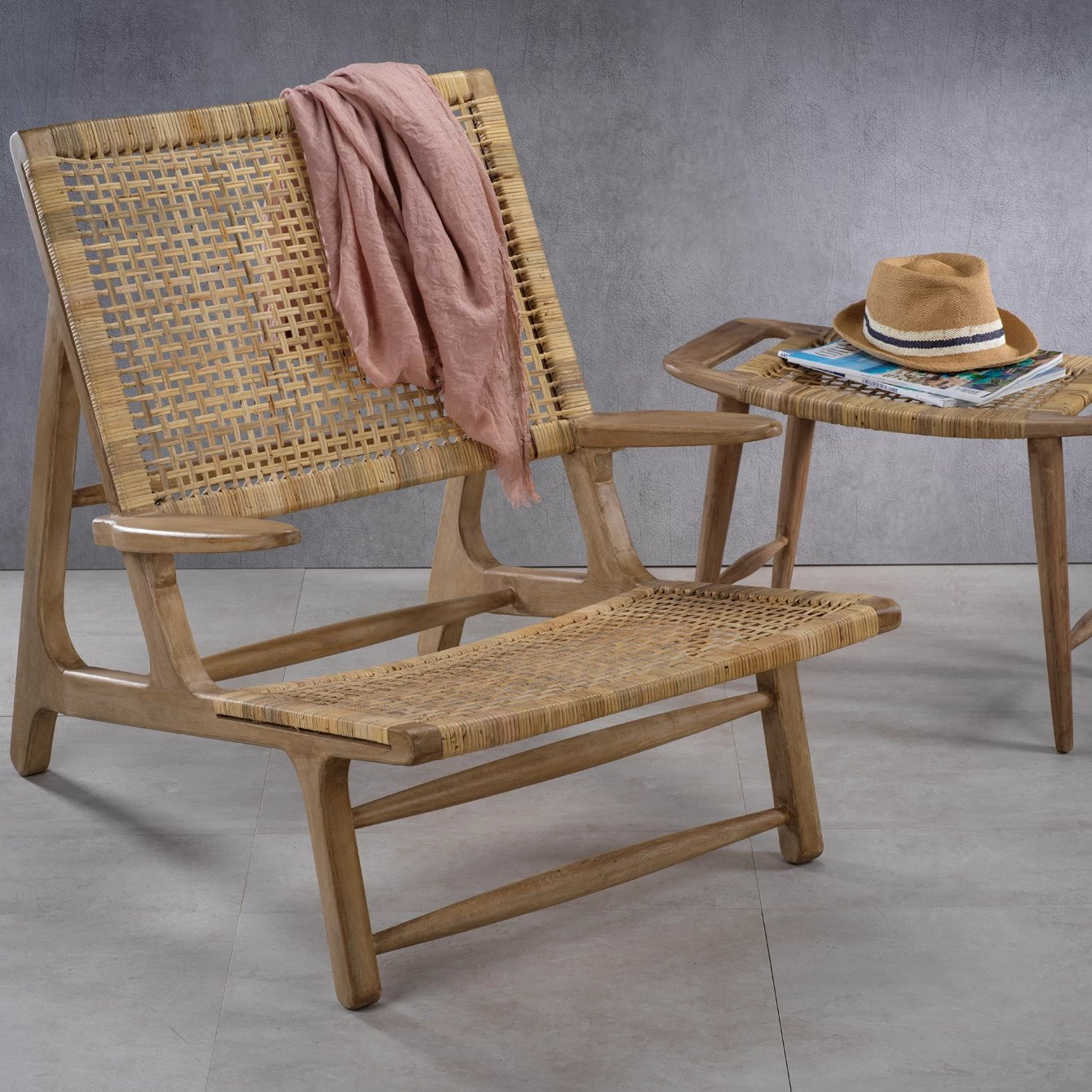 Sand River Mango Wood & Cane Lounge Chair - CARLYLE AVENUE