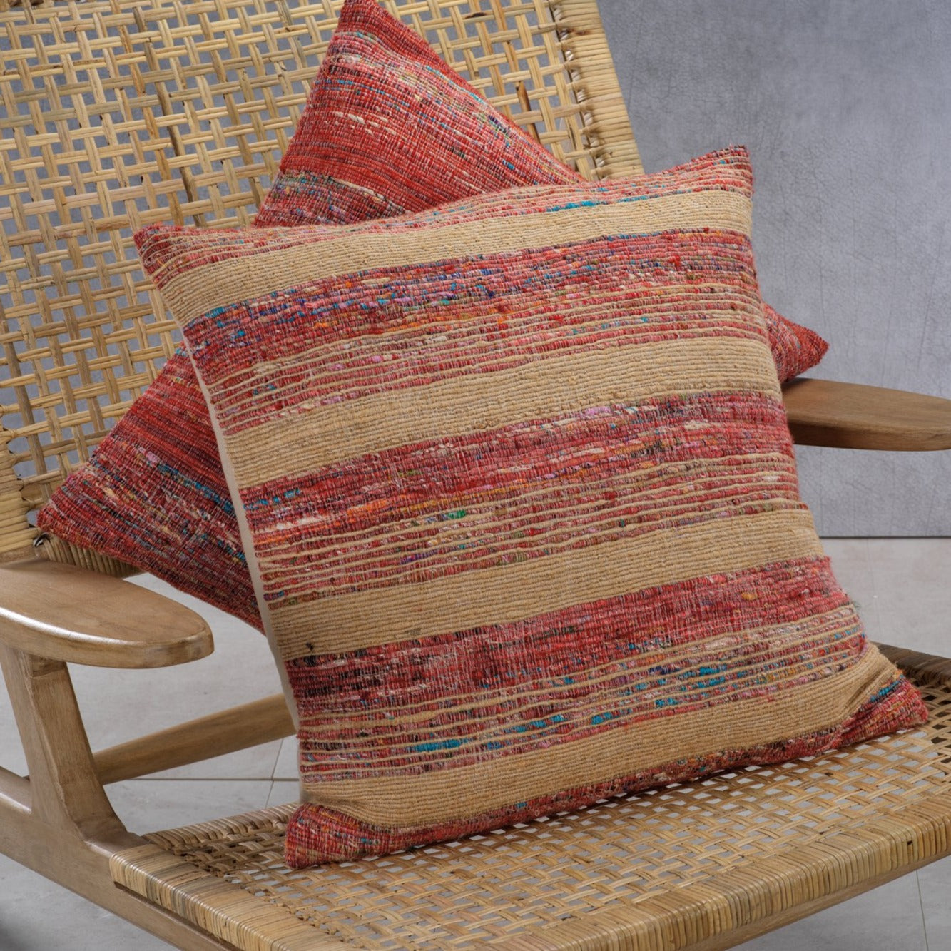 Masseria Cotton Throw Pillow - Multi Color w/ Natural Accent