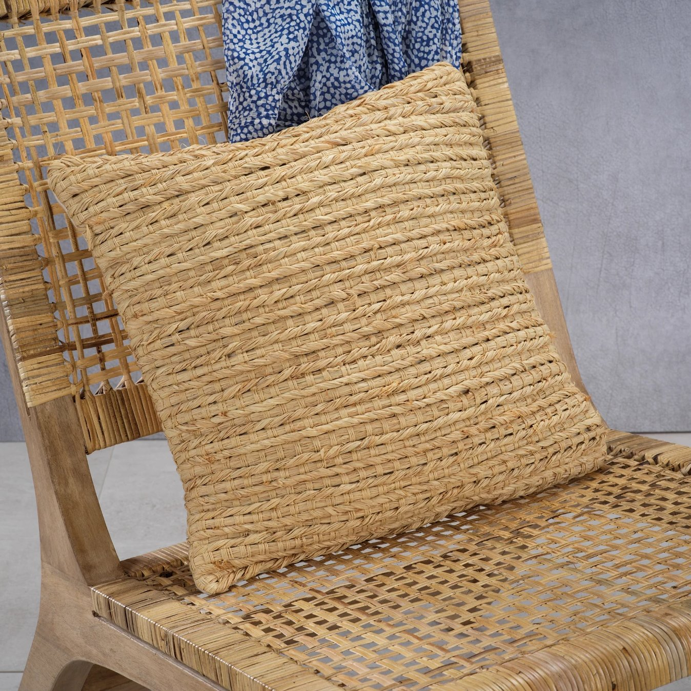 Palm Handwoven Natural Throw Pillow