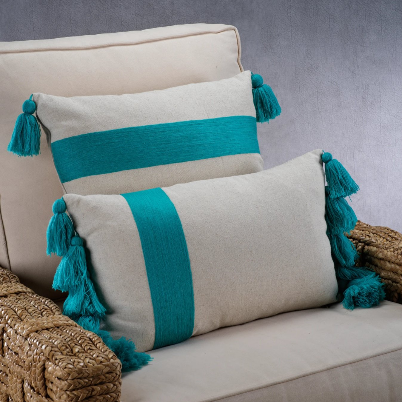 Polignano Embroidered Throw Pillow w/Tassels - Azure