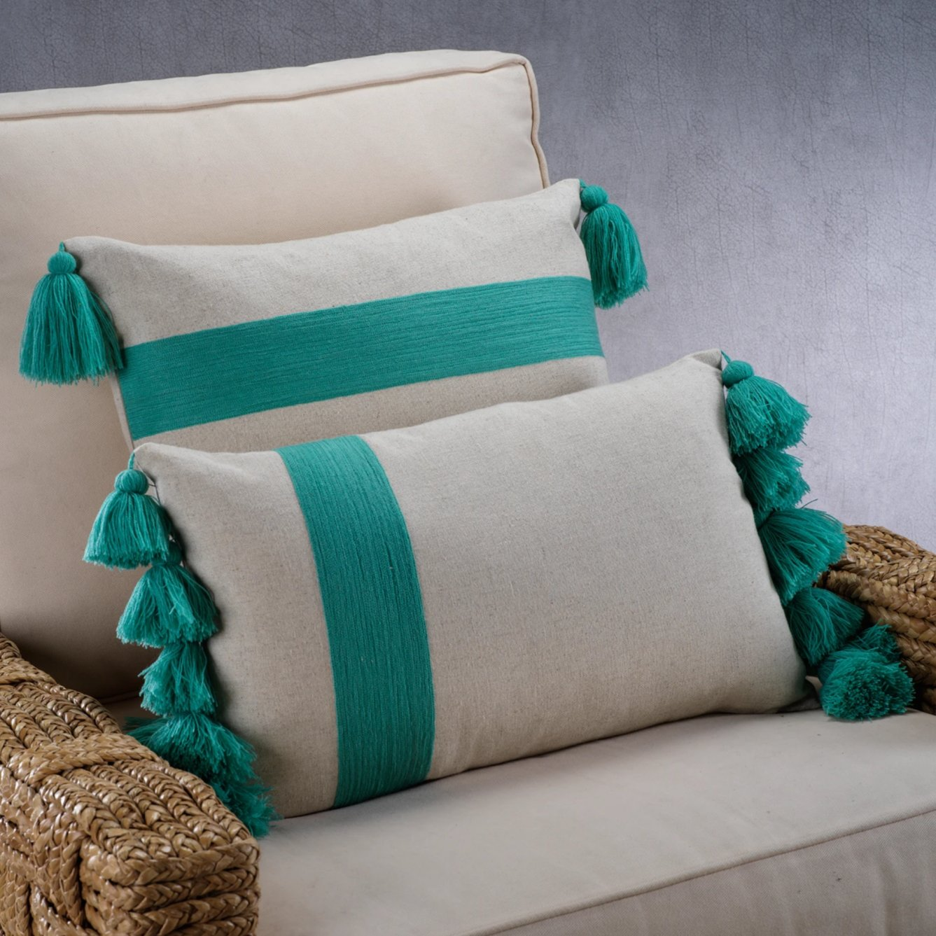 Polignano Embroidered Throw Pillow w/Tassels - Turquoise