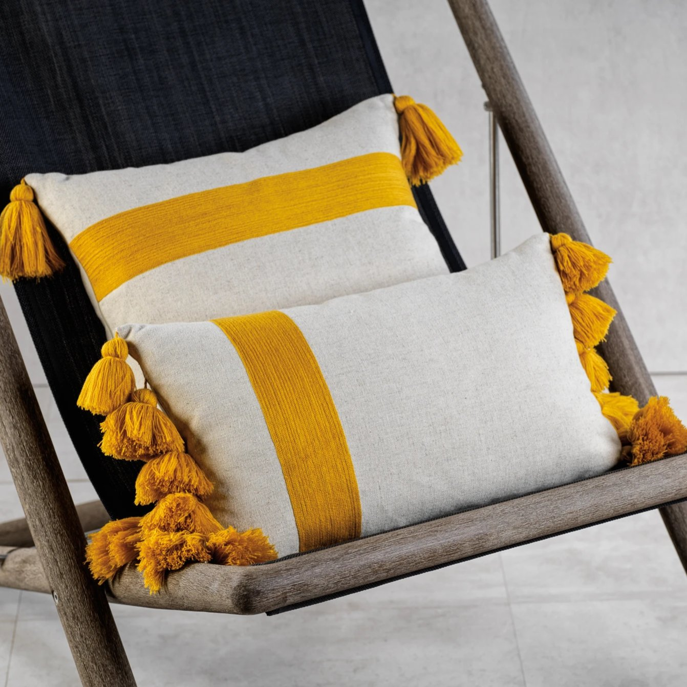 Polignano Embroidered Throw Pillow w/Tassels - Yellow