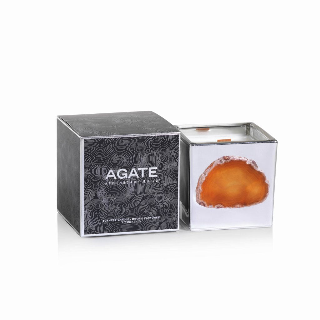 Agate Scented Candle Jar - Silver - CARLYLE AVENUE