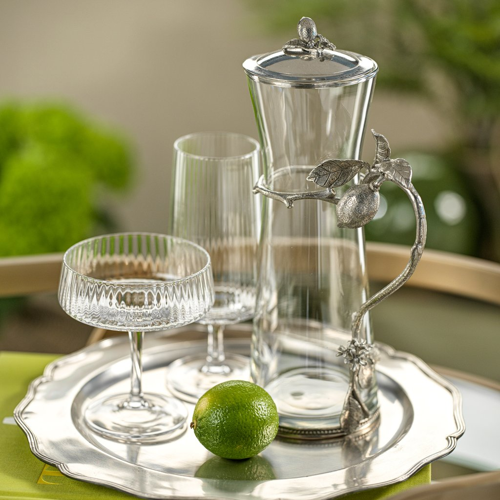 Limon Agria Pewter & Glass Pitcher w/Lid