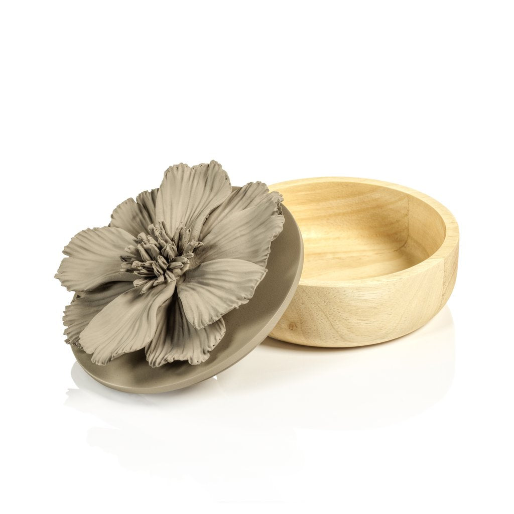 Cosmos Porcelain and Natural Wood Flower Box - Gray