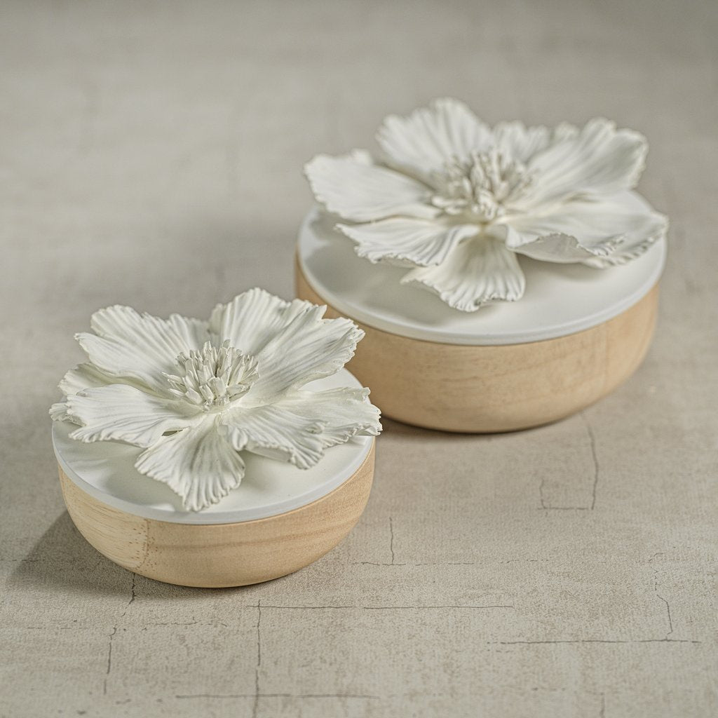 Cosmos Porcelain and Natural Wood Flower Box - White